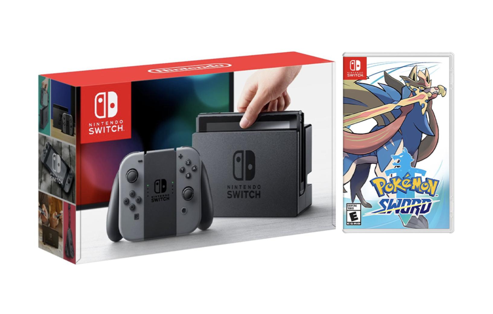 Nintendo Switch Gray Joy-Con Console Bundle with Pokémon Sword