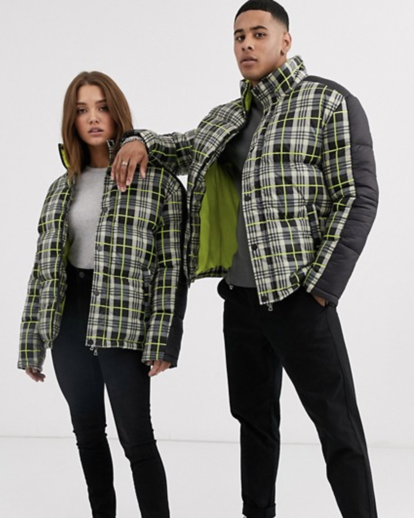 Another Influence Unisex Check Padded Jacket