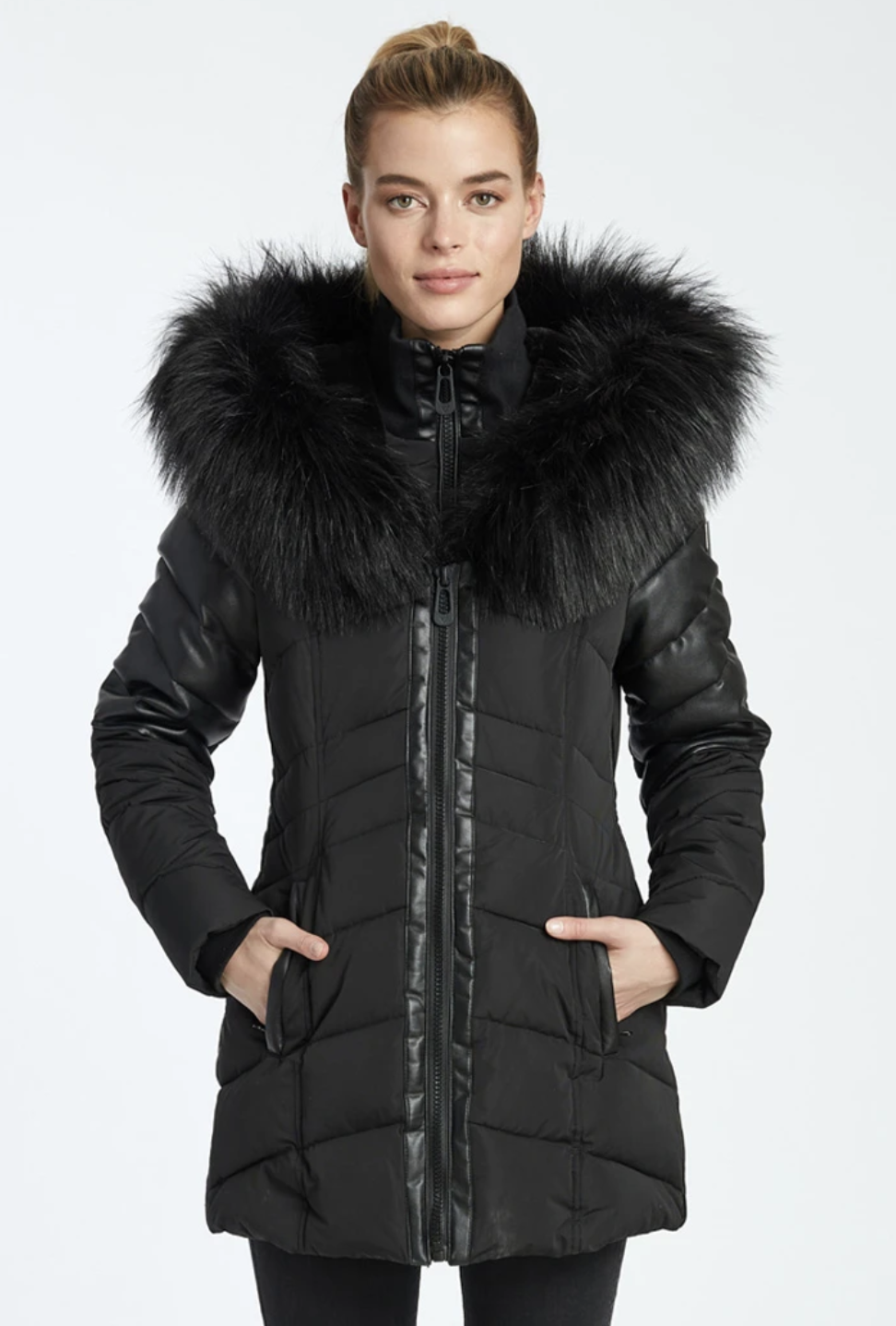 Noize Violet Mid-Length Quilted Jacket
