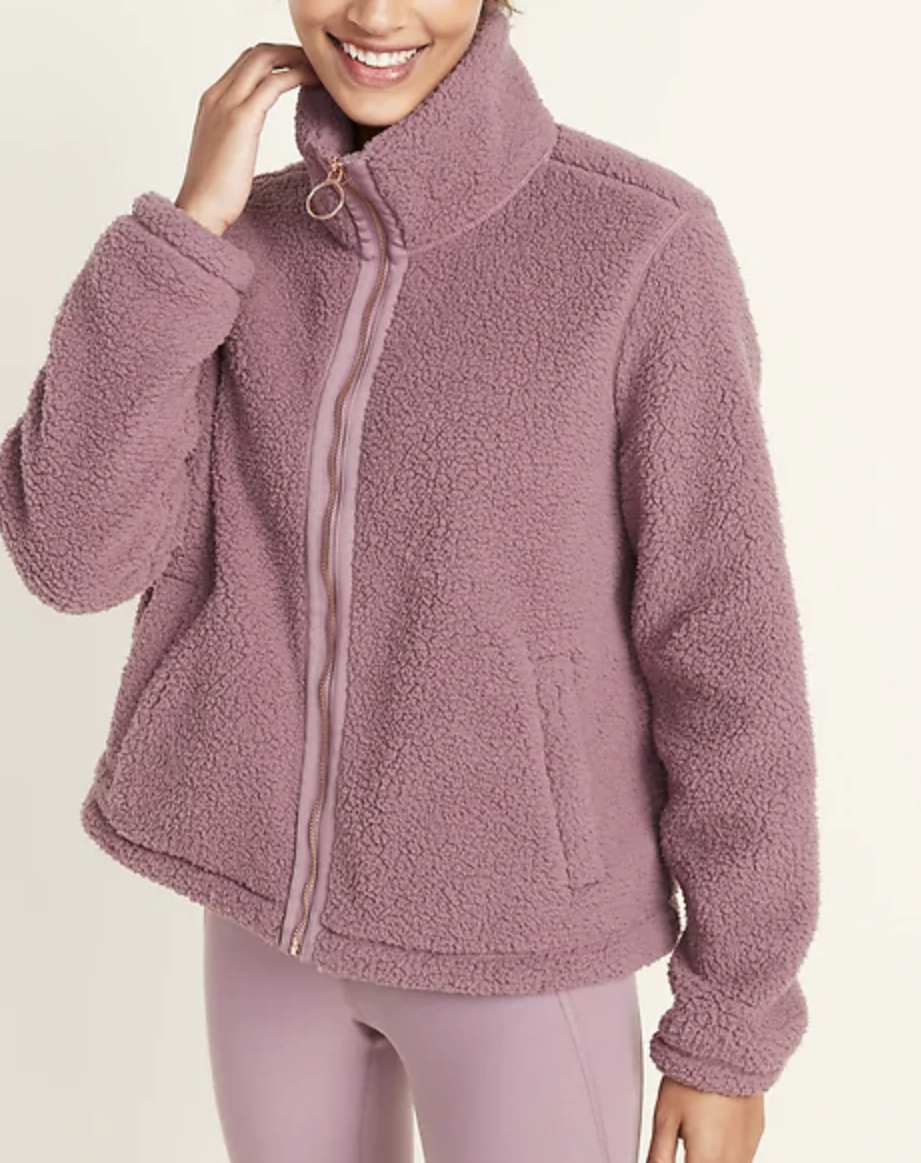 Loose-Fit Sherpa Zip Jacket