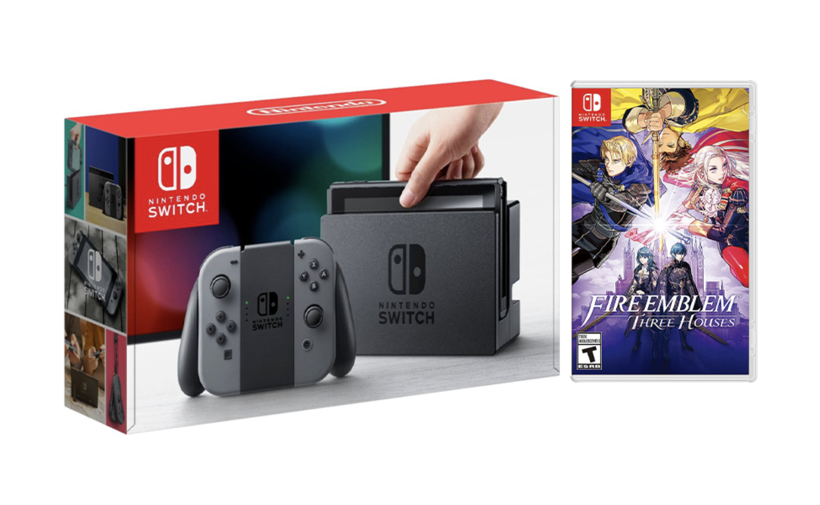 Nintendo Switch Gray Joy-Con Console Bundle with Fire Emblem: Three Houses