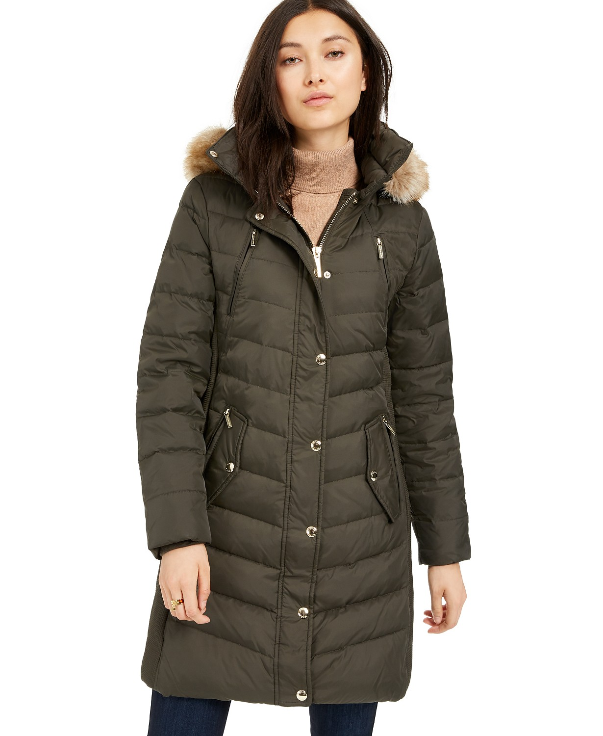 MICHAEL Michael Kors Faux-Fur-Trim Hooded Chevron Down Puffer Coat