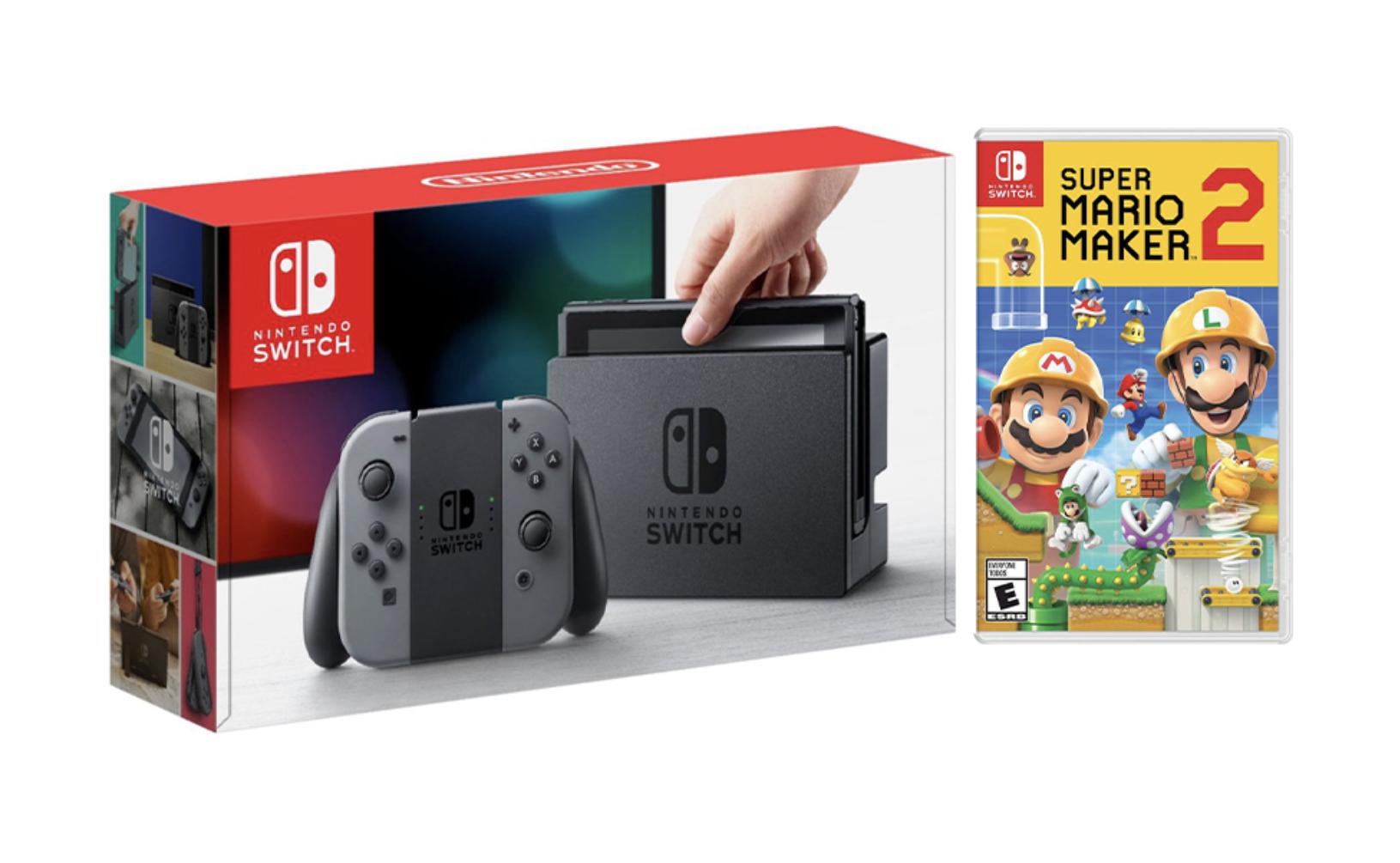 Nintendo Switch Gray Joy-Con Console Bundle with Super Mario Maker 2