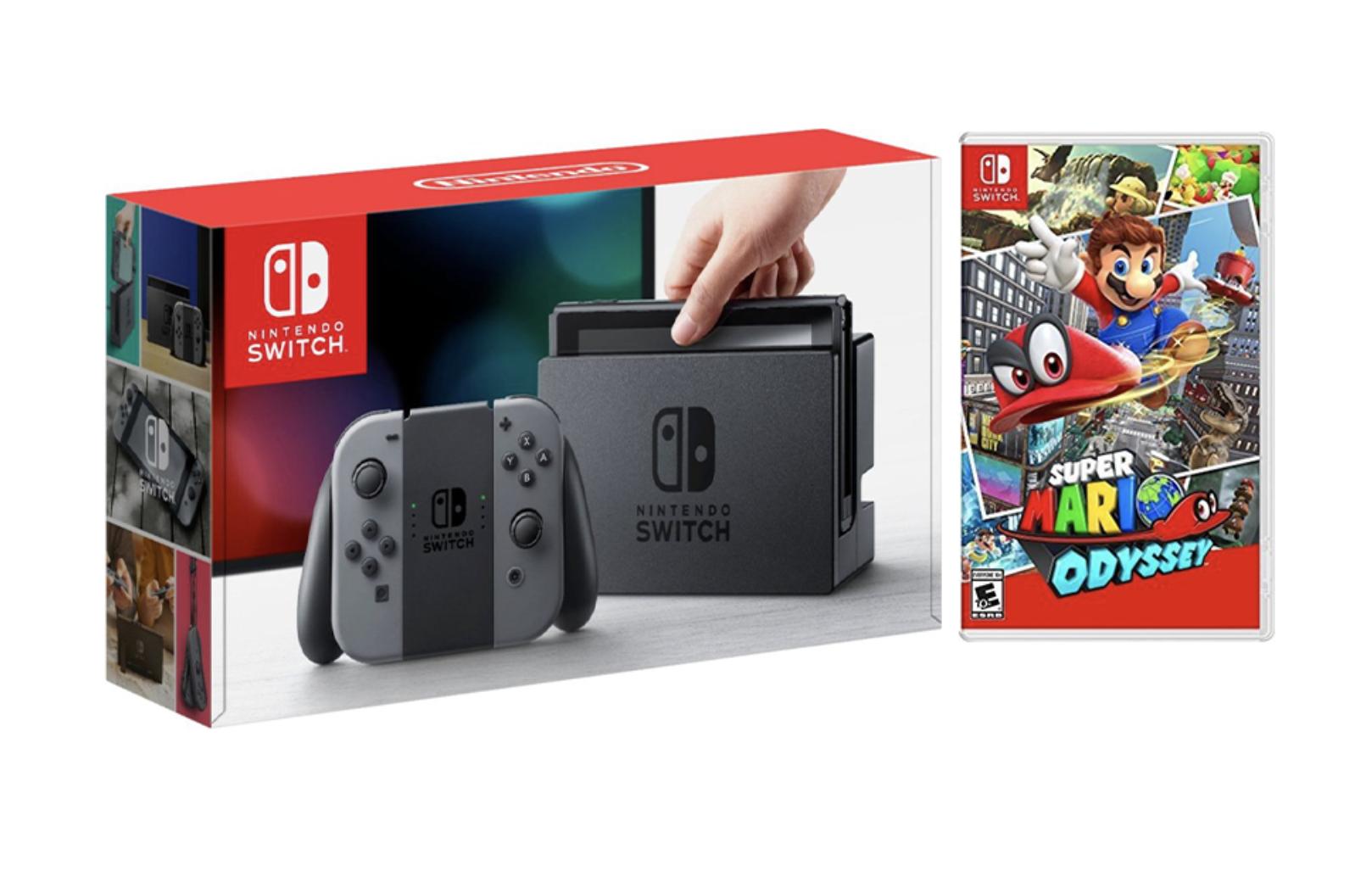 Nintendo Switch Gray Joy-Con Console Bundle with Super Mario Odyssey