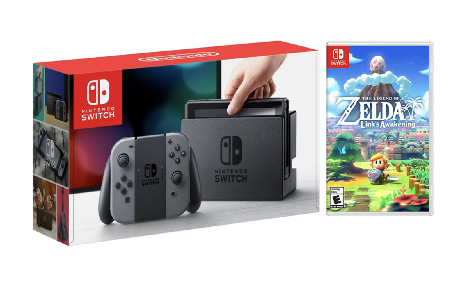 Nintendo Switch Gray Joy-Con Console Bundle with The Legend of Zelda: Link's Awakening