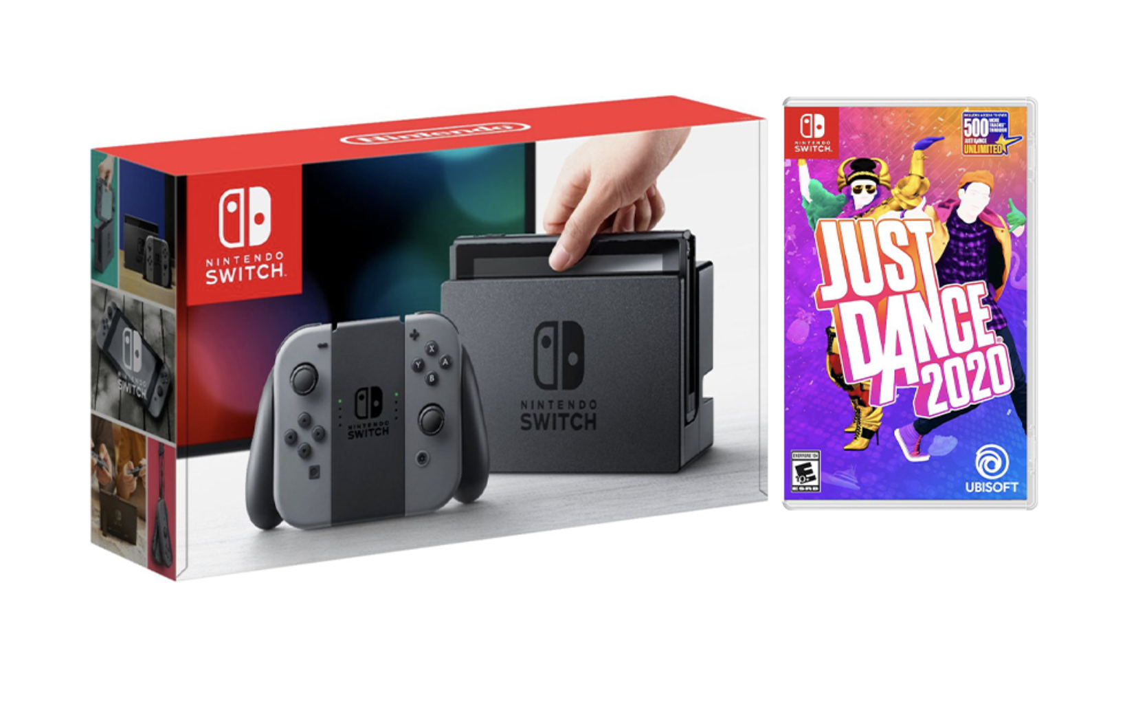 Nintendo Switch Gray Joy-Con Console Bundle with Just Dance 2020