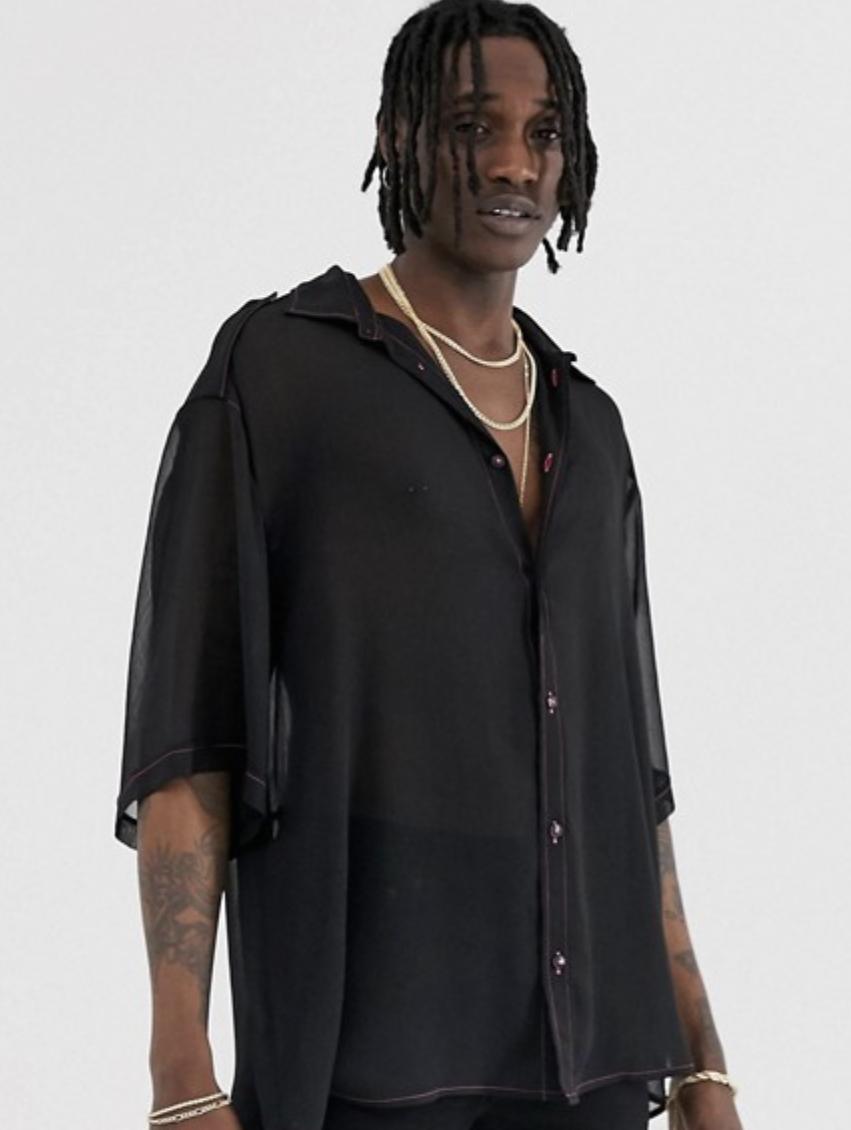 Heart & Dagger Oversized Sheer Shirt in Black