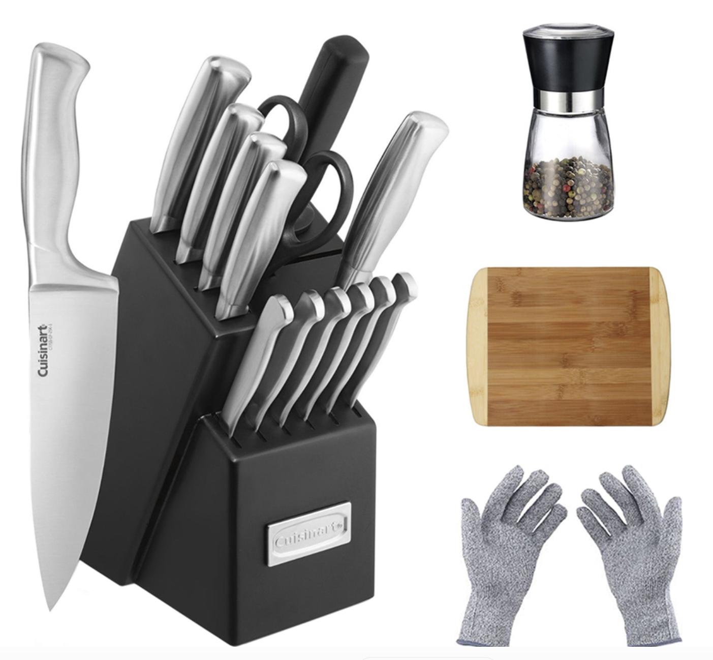 Cuisinart Stainless Steel Hollow Handle 15-Piece Cutlery Knife Block Set