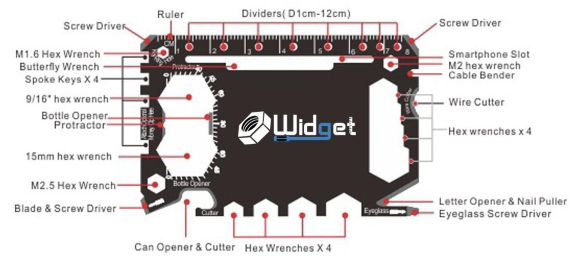 Widget 43-in-1 multi-purpose survival tool