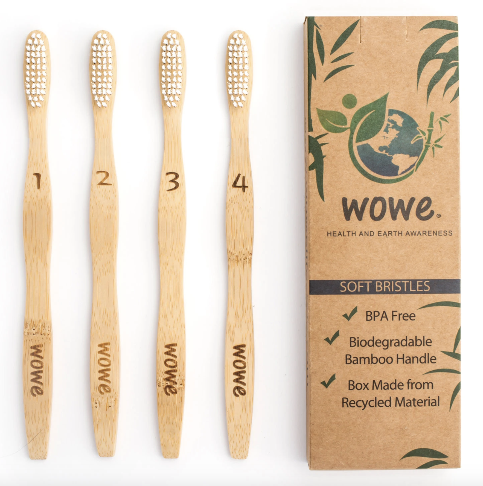 Wowe Lifestyle Natural Organic Bamboo Toothbrush (Pack of 4)