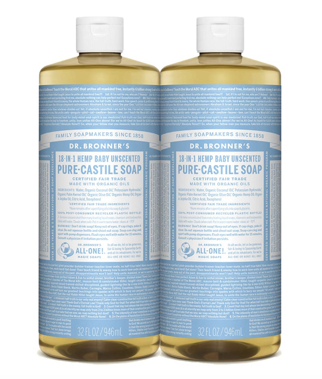 Dr. Bronner's Pure-Castile Liquid Soap (Baby Unscented), Pack of 2