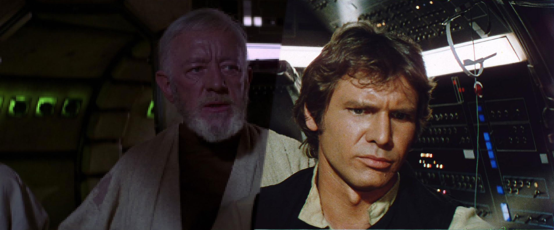 Edited image of two frames from different edits of Star Wars.