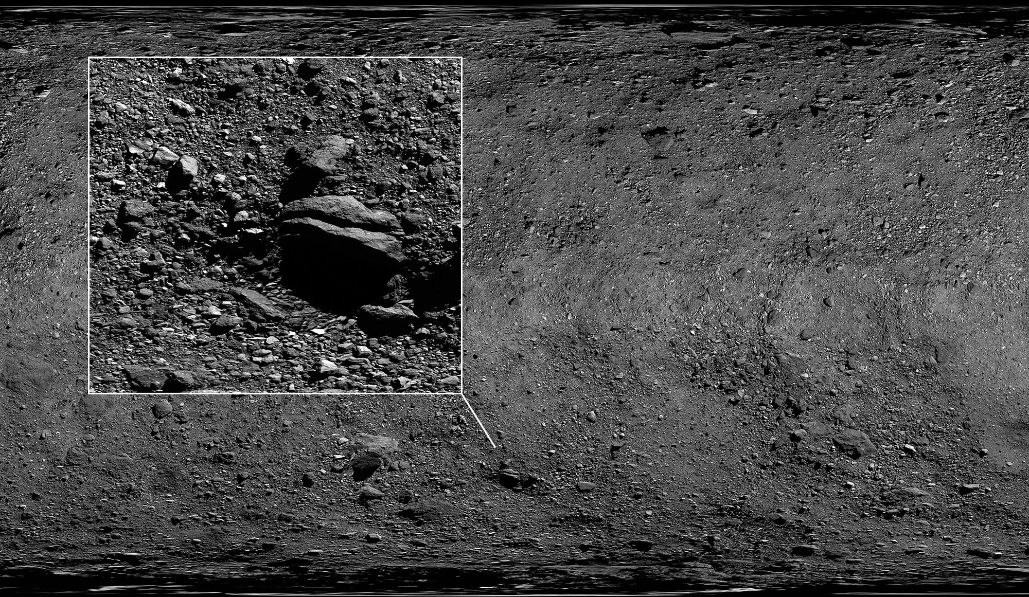 Asteroid Bennu mosaic detail