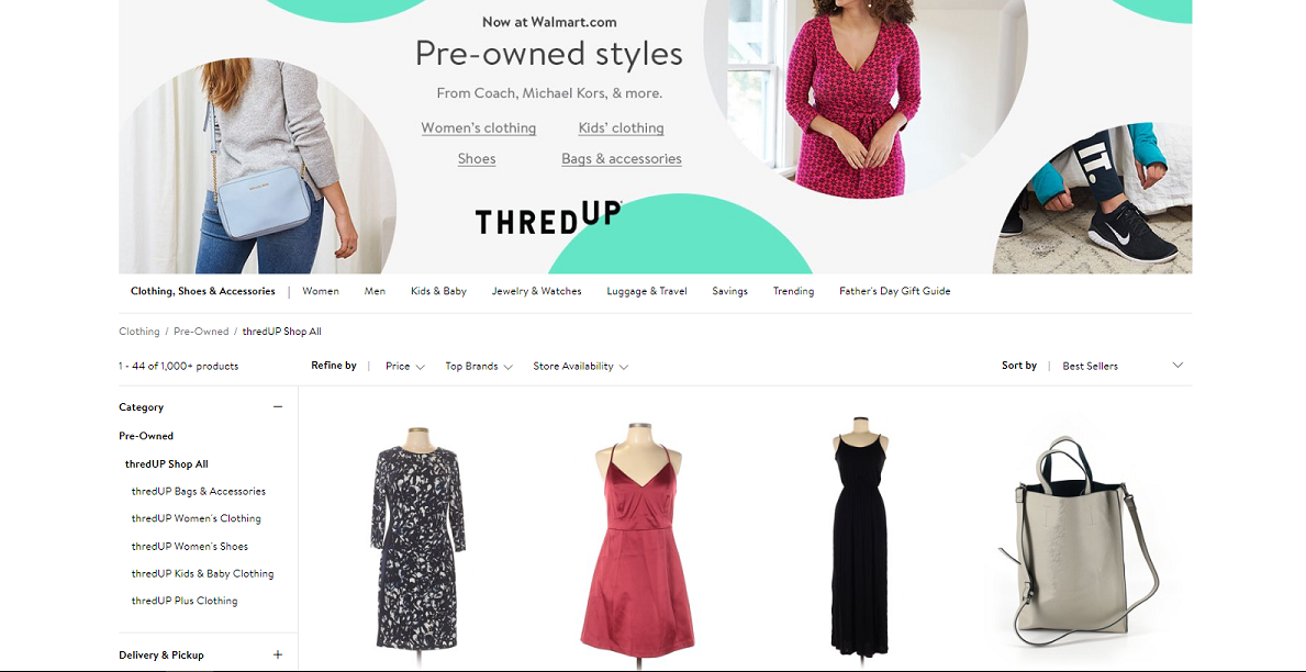 Walmart partners with thredUP to offer new and pre-owned clothing