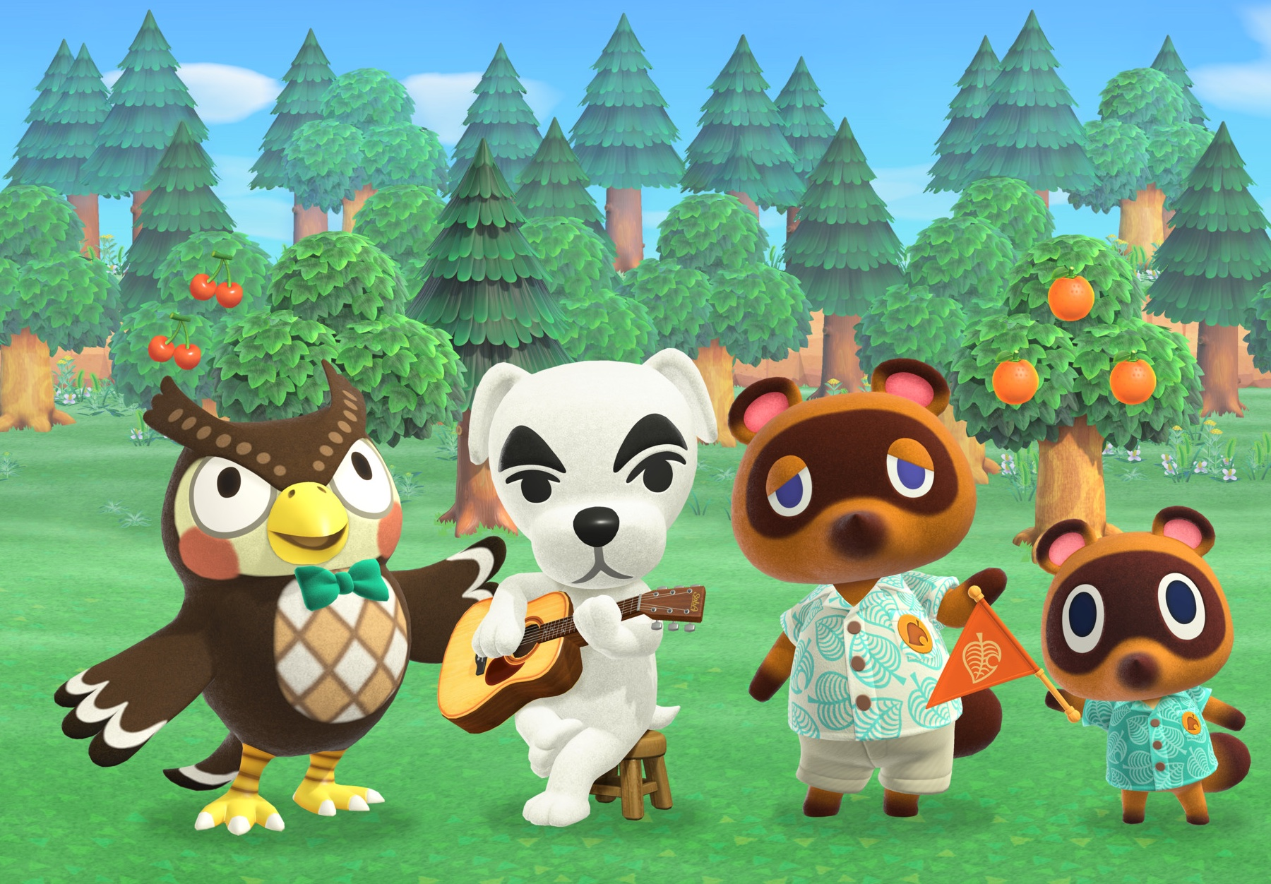 K.K. Slider among characters from 'Animal Crossing: New Horizons'