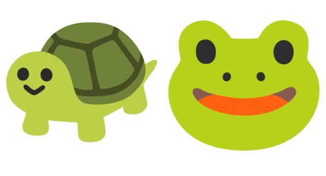 Google Android emoji frog turtle