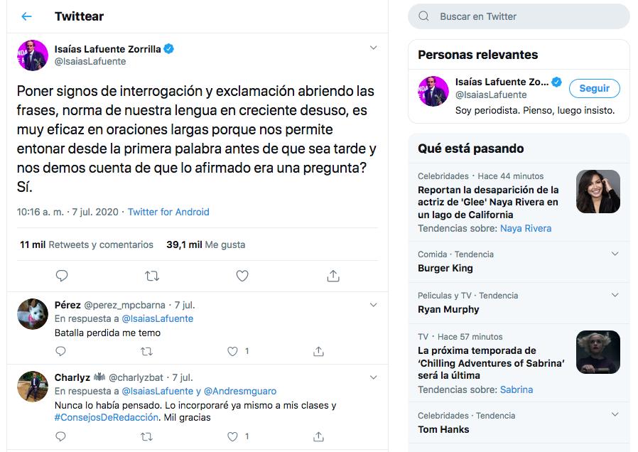 Un Tuit Provoca Un Debate Intenso Sobre El Signo De Exclamación E Interrogación Inicial