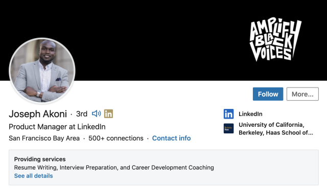 Joseph Akoni, a LinkedIn product manager
