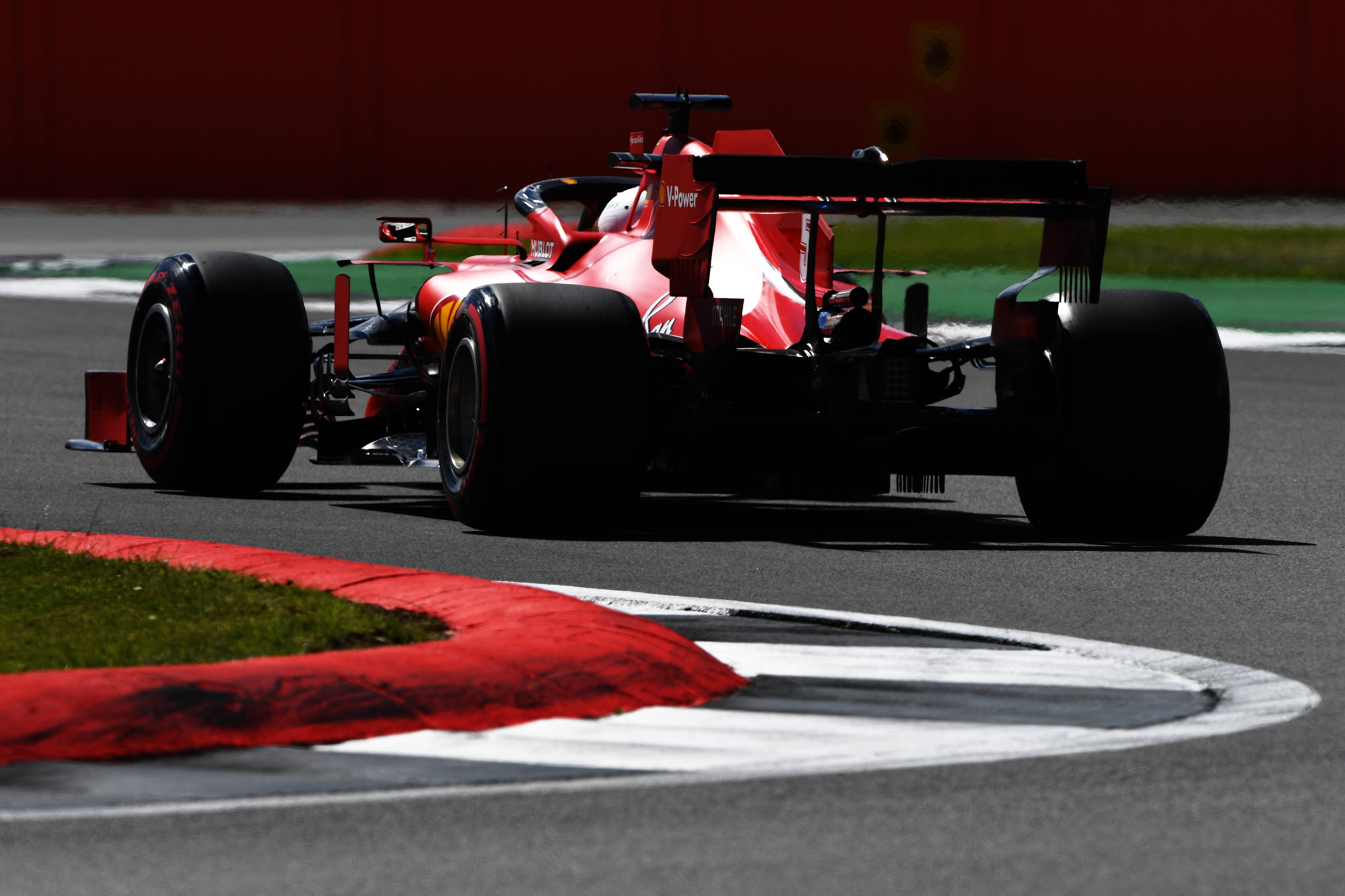 NORTHAMPTON, ENGLAND - AUGUST 01: Sebastian Vettel of Germany driving the (5) Scuderia Ferrari SF1000 on track during qualifying for the F1 Grand Prix of Great Britain at Silverstone on August 01, 2020 in Northampton, England. (Photo by Rudy Carezzevoli/Getty Images)