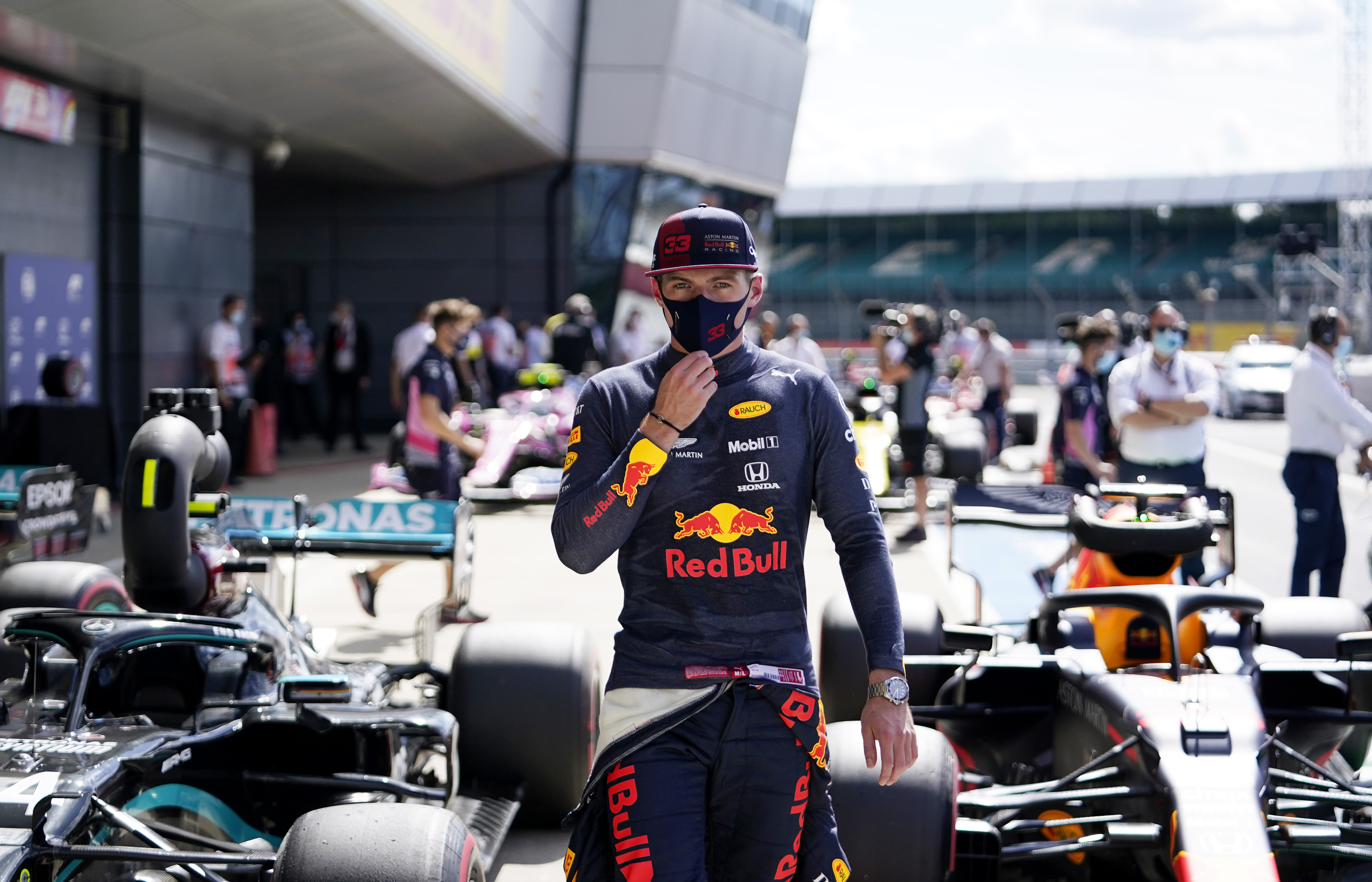 NORTHAMPTON, ENGLAND - AUGUST 01: Third place qualifier Max Verstappen of Netherlands and Red Bull Racing looks on in parc ferme during qualifying for the F1 Grand Prix of Great Britain at Silverstone on August 01, 2020 in Northampton, England. (Photo by Will Oliver/Pool via Getty Images)