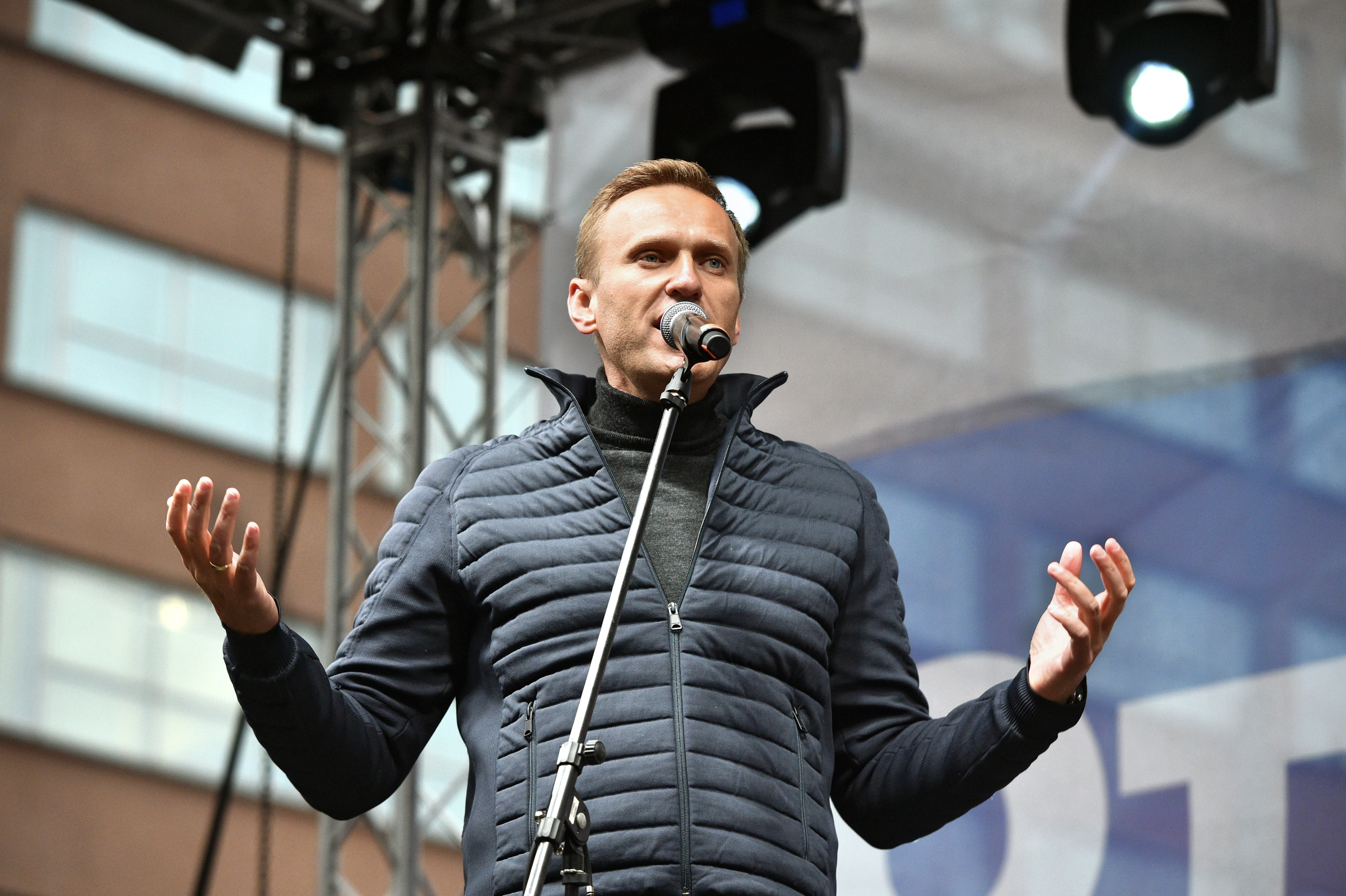 Rally to support political prisoners at Academician Sakharov Prospect. Head of the Anti-Corruption Fund Alexei Navalny at the rally. September 29 2019. Russia, Moscow Photo credit: Peter Kassin/Kommersant/Sipa USA