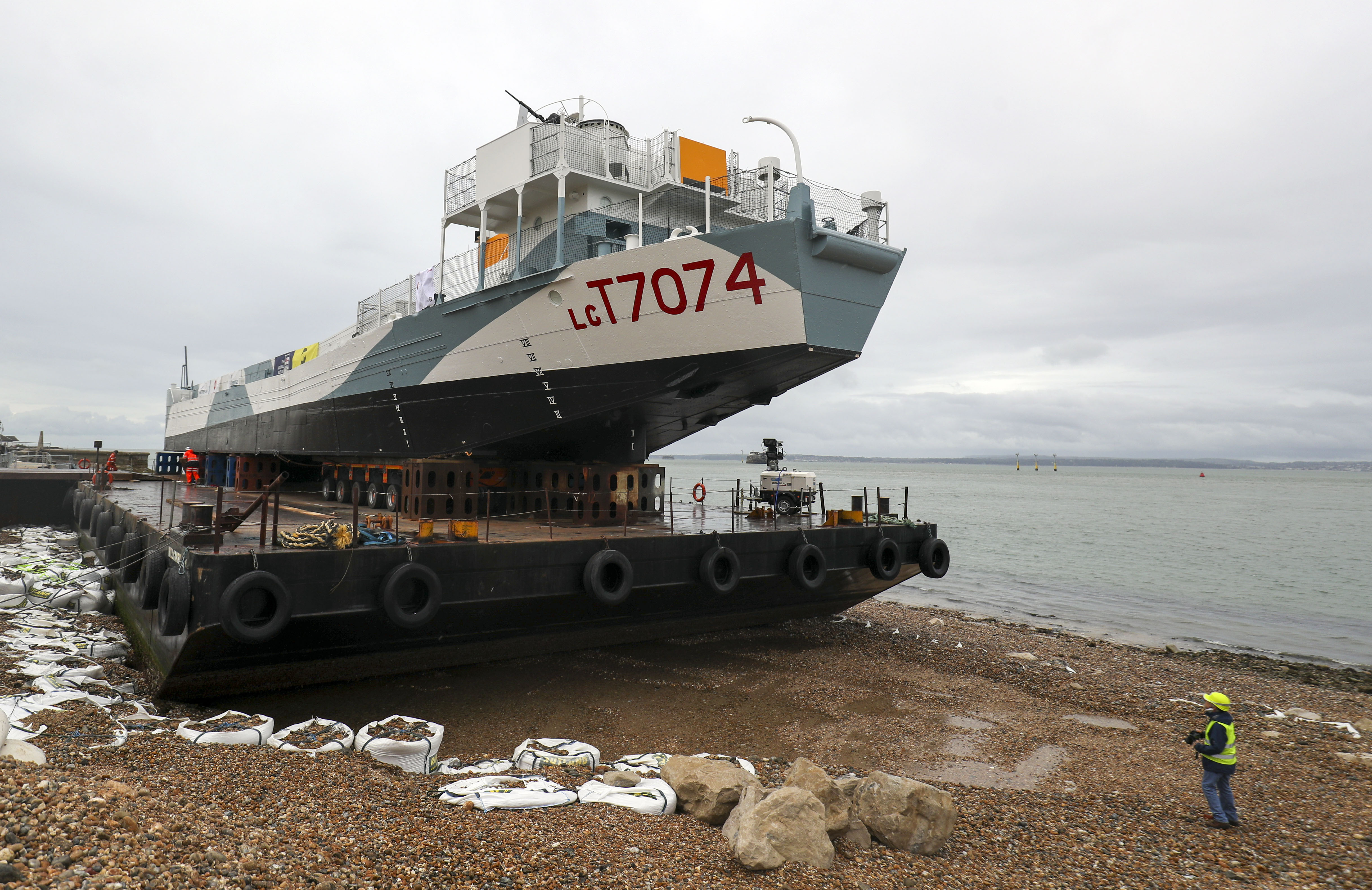 Restored World War Two landing craft LCT 7074 is transported from from the Naval Base in Portsmouth to its final resting place at the D-Day Story at Southsea. (Photo by Steve Parsons/PA Images via Getty Images)