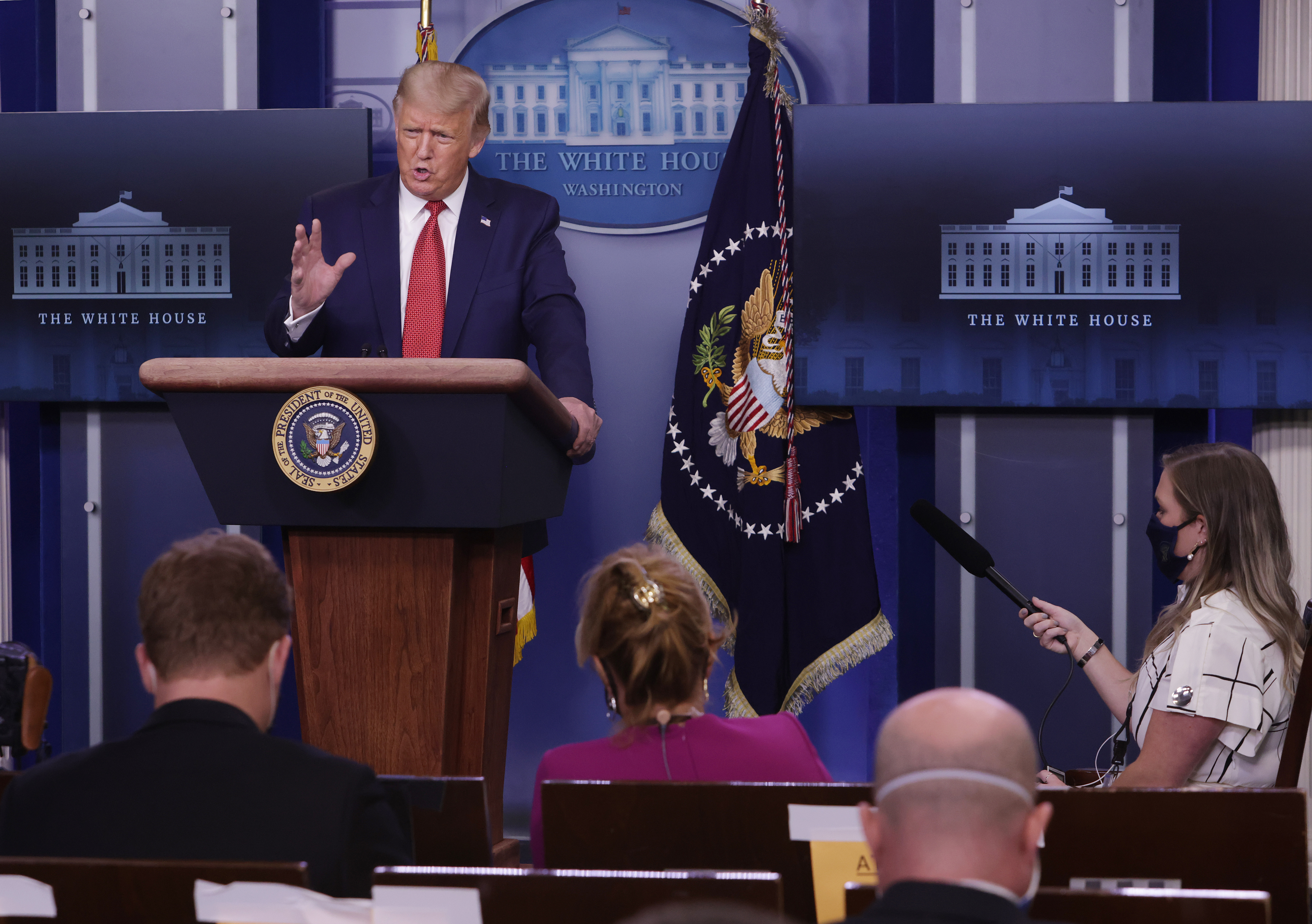 WASHINGTON, DC - AUGUST 10: U.S. President Donald Trump speaks during a news conference at the James Brady Press Briefing Room of the White House August 10, 2020 in Washington, DC. Trump tweeted earlier today that he will accept the Republican presidential nomination on August 27 either at the Civil War battlefield in Gettysburg, Pennsylvania, or at the White House.  (Photo by Alex Wong/Getty Images)