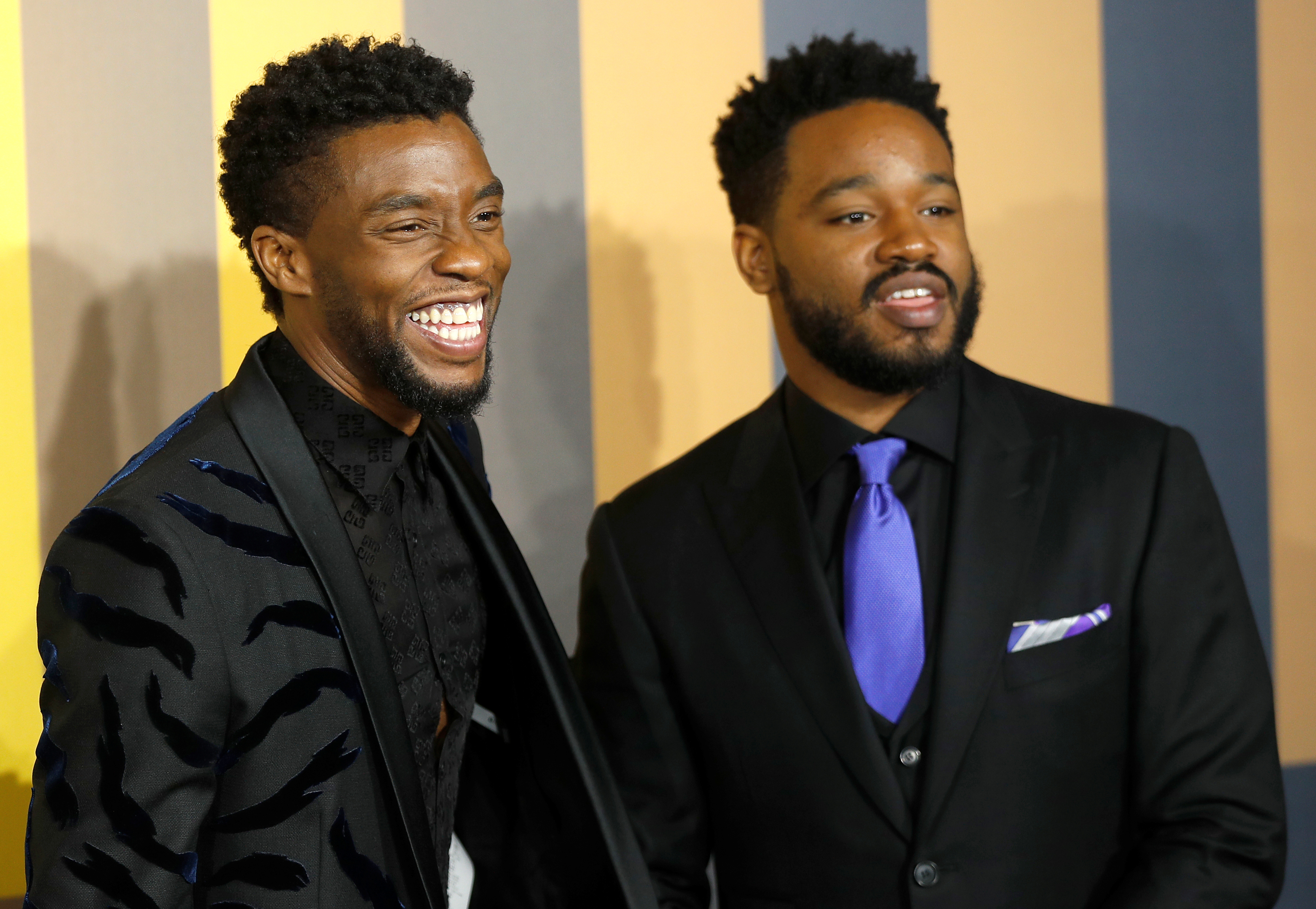 Actor Chadwick Boseman and Director Ryan Coogler arrive at the premiere of the new Marvel superhero film 'Black Panther' in London, Britain February 8, 2018. REUTERS/Peter Nicholls