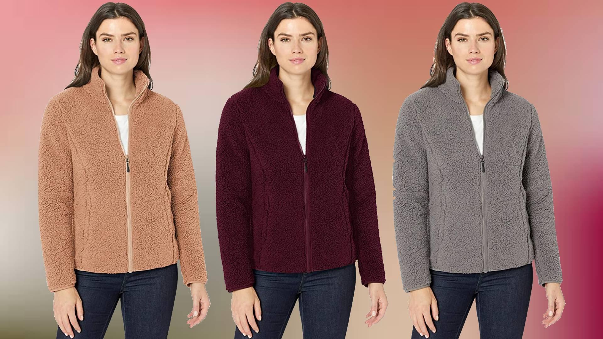 Essentials Womens Polar Fleece Lined Sherpa Full-Zip Jacket