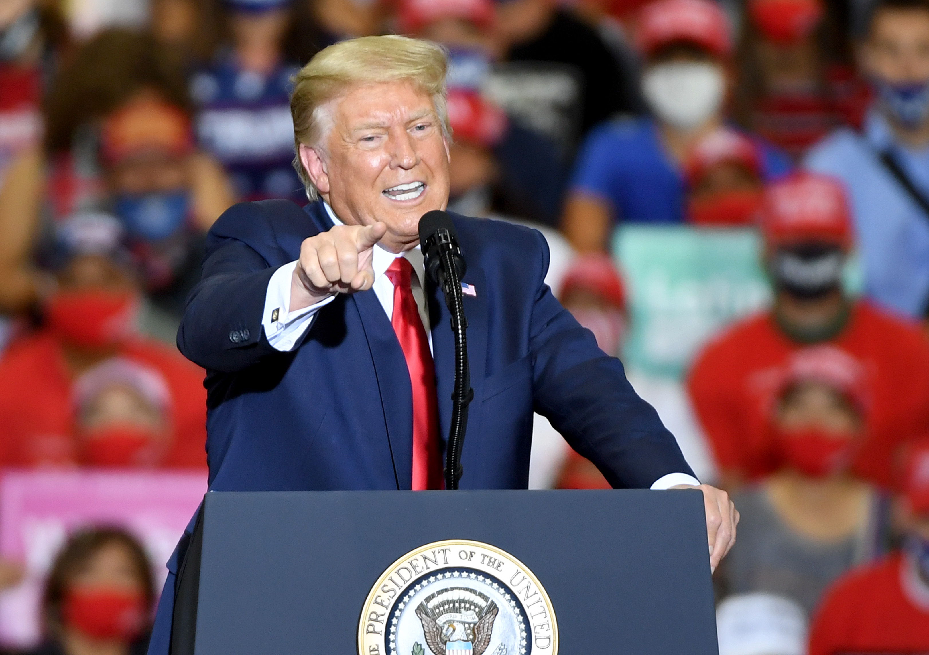 HENDERSON, NEVADA - SEPTEMBER 13:  U.S. President Donald Trump speaks during a campaign event at Xtreme Manufacturing on September 13, 2020 in Henderson, Nevada. Trump's visit comes after Nevada Republicans blamed Democratic Nevada Gov. Steve Sisolak for blocking other events he had planned in the state.  (Photo by Ethan Miller/Getty Images)