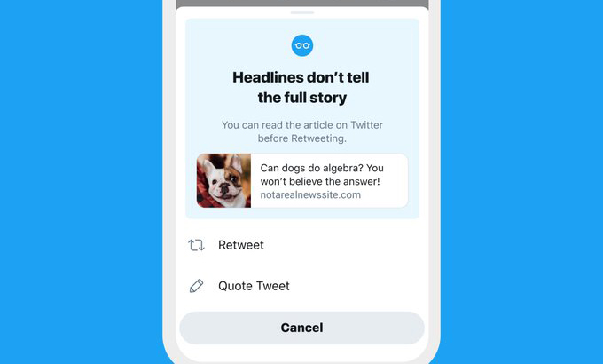 Twitter says its test to get people to read articles before tweeting worked