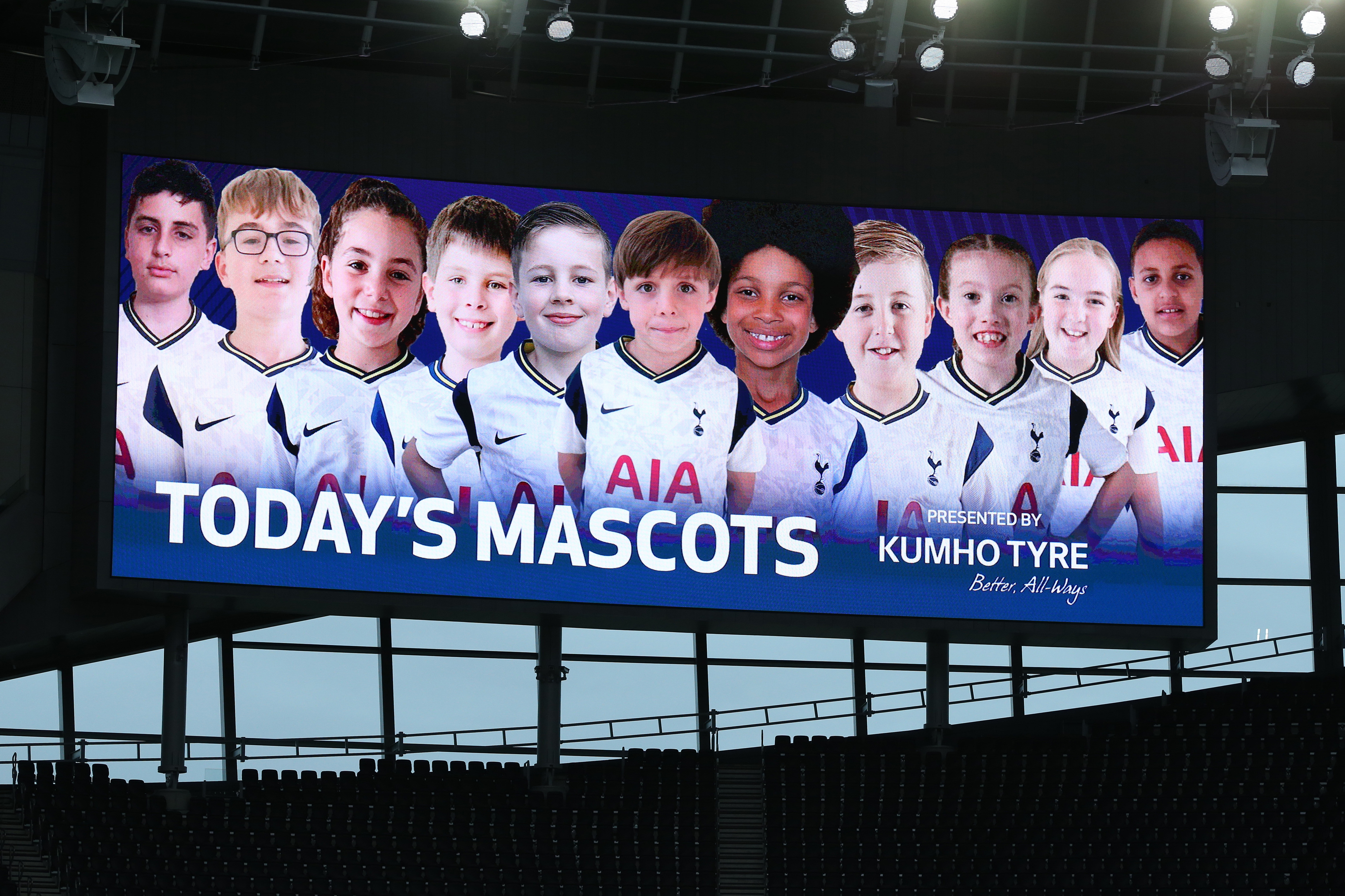 LONDON, ENGLAND - SEPTEMBER 27: Mascots are displayed on the big screen during the Premier League match between Tottenham Hotspur and Newcastle United at Tottenham Hotspur Stadium on September 27, 2020 in London, England. Sporting stadiums around the UK remain under strict restrictions due to the Coronavirus Pandemic as Government social distancing laws prohibit fans inside venues resulting in games being played behind closed doors. (Photo by Tottenham Hotspur FC/Tottenham Hotspur FC via Getty Images)