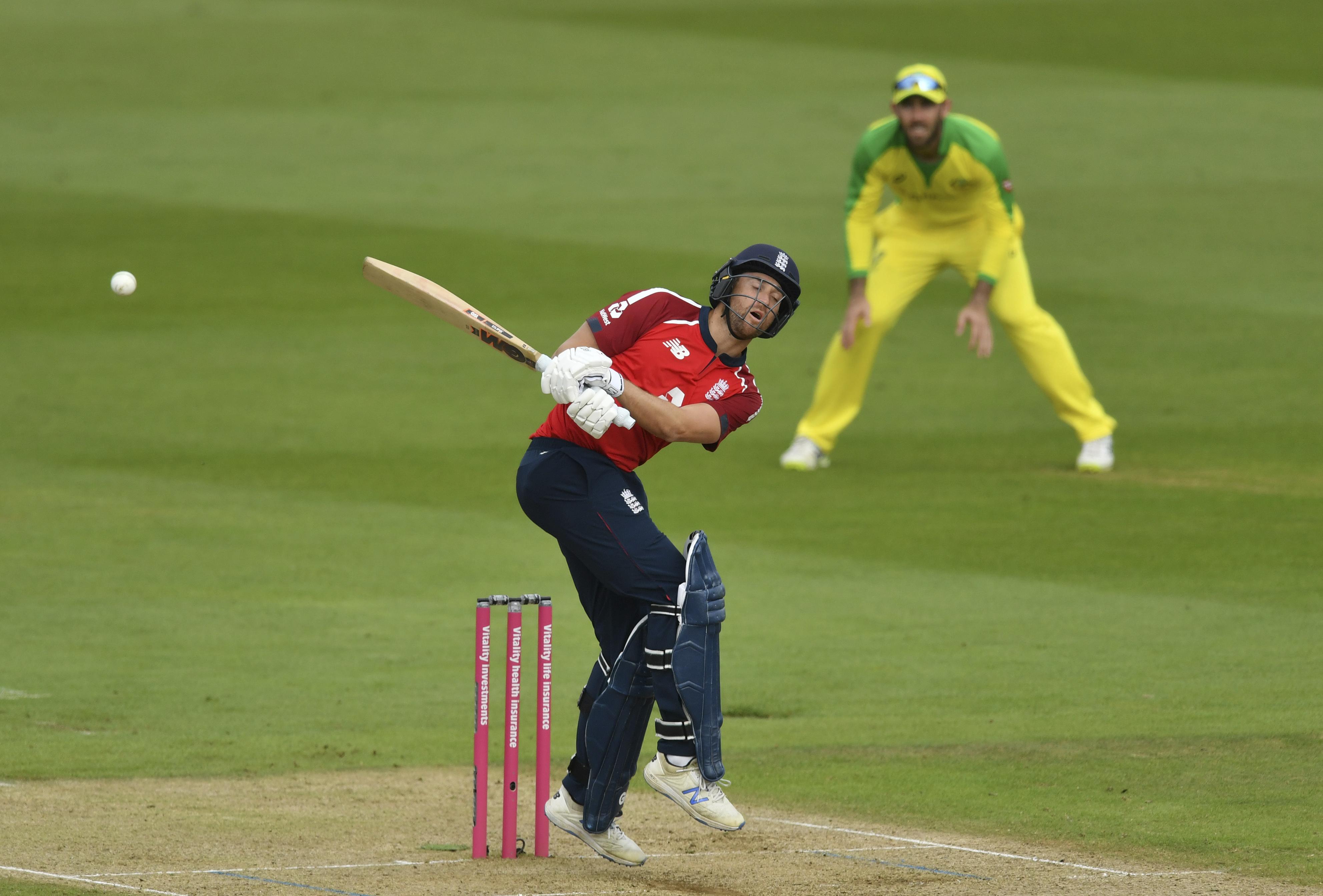 England's Dawid Malan bats during the second Twenty20 cricket match between England and Australia, at the Ageas Bowl in Southampton, England, Sunday, Sept. 6, 2020. (Dan Mullan/Pool via AP)