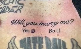 """Tattoo-fan Bruno Neves, 33, proposed to his girlfriend with an inking which read """"Will you marry me?"""", complete with 'Yes/No' tick boxes. Romantic Bruno popped the question to girlfriend Patricia Calado, 34, last week, with the help of his favourite tattoo artist Arron Adams, 33. The romantic delivery driver, from Great Yarmouth, Norfolk, asked his fiancée-to-be to come with him to A Sailor's Grave Tattoo Studio in the seaside town. Bruno, whose body already featured 20 inkings, told her he was getting some cover-up ink on an existing tat. But as mum-of-two Patricia sat in the waiting room for around 45 minutes, she had no idea that Bruno was actually getting the words """"Will you marry me?"""" tattooed across his chest. A nervous Bruno, who is also a dad to a four-year-old son, even completed the tattoo with 'Yes' or 'No' tickboxes beneath the big question. And when a stunned Patricia read the words on his chest, she quickly grabbed a pen and put a cross through the 'Yes' box - which was then also tattooed on Bruno's chest."""