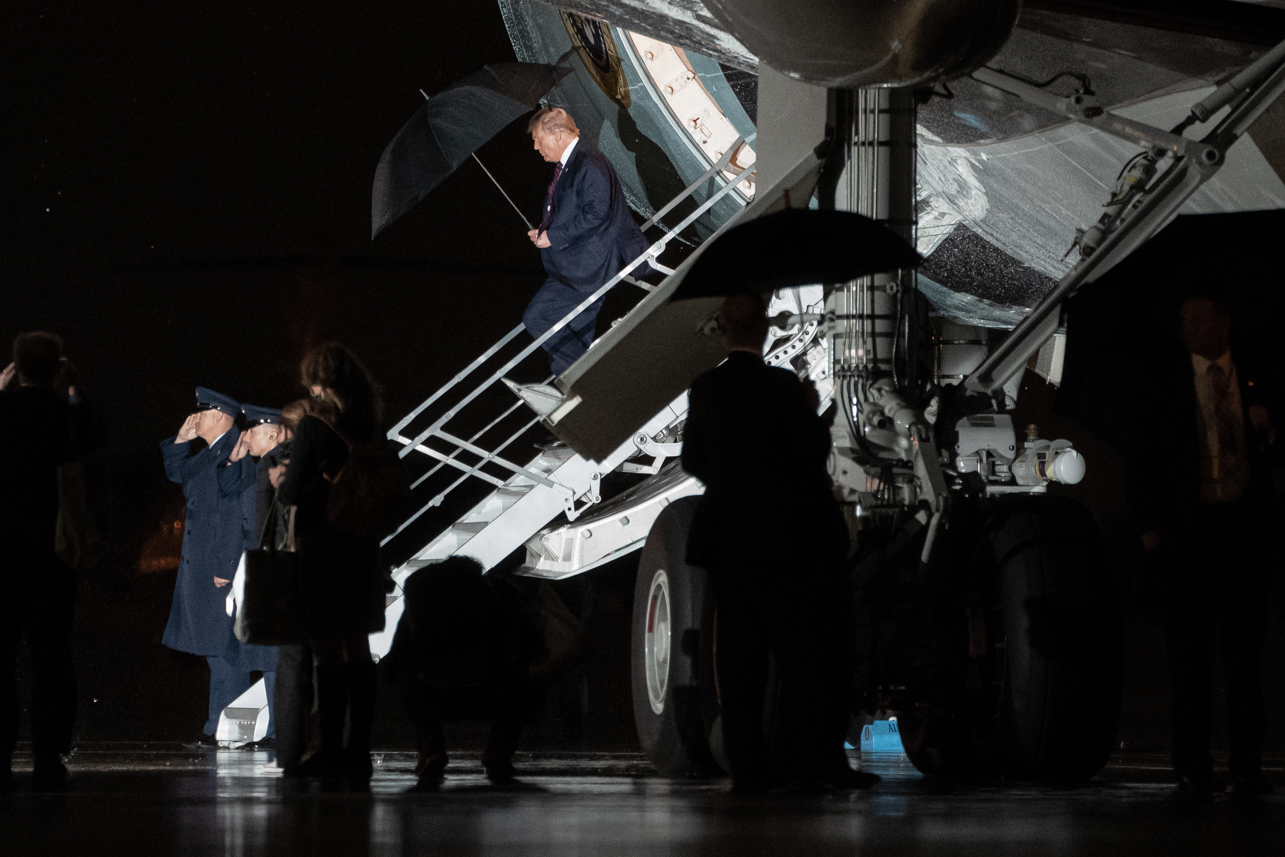 President Donald Trump walks off Air Force One at Joint Base Andrews Wednesday, September 30, 2020 in Washington, DC. Trump returned from his first Presidential debate with Former Vice President Joe Biden in Cleveland, Ohio. Photo by Ken Cedeno/Pool/Sipa USA