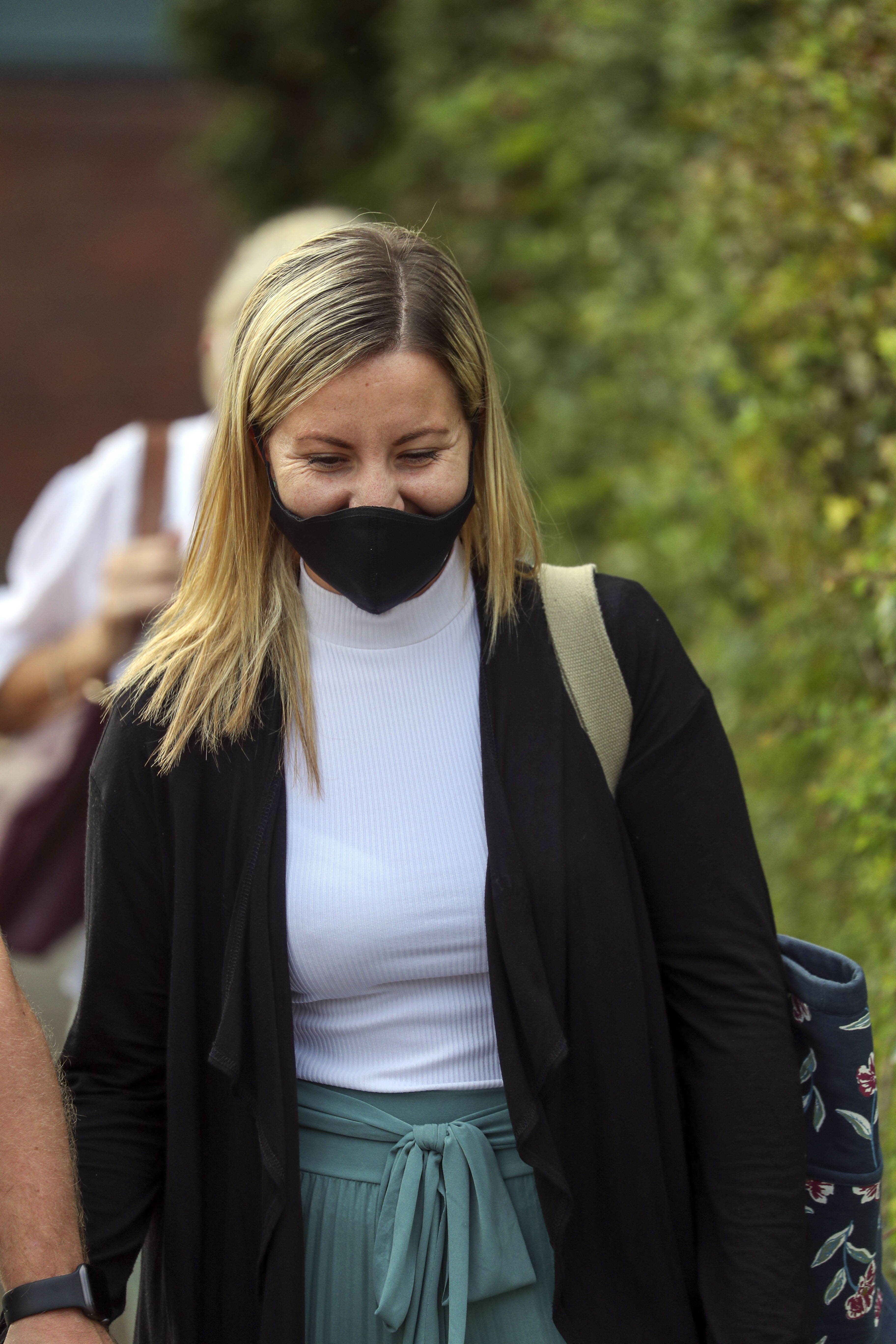 Teacher Kandice Barber, 35, leaves Aylesbury Crown Court, Buckinghamshire, after being found guilty of two sex offence charges related to sending topless Snapchat pictures to a 15-year-old student. The jury were unable to reach verdicts on three more serious charges of causing or inciting a child aged under 16 to engage in a sexual act.