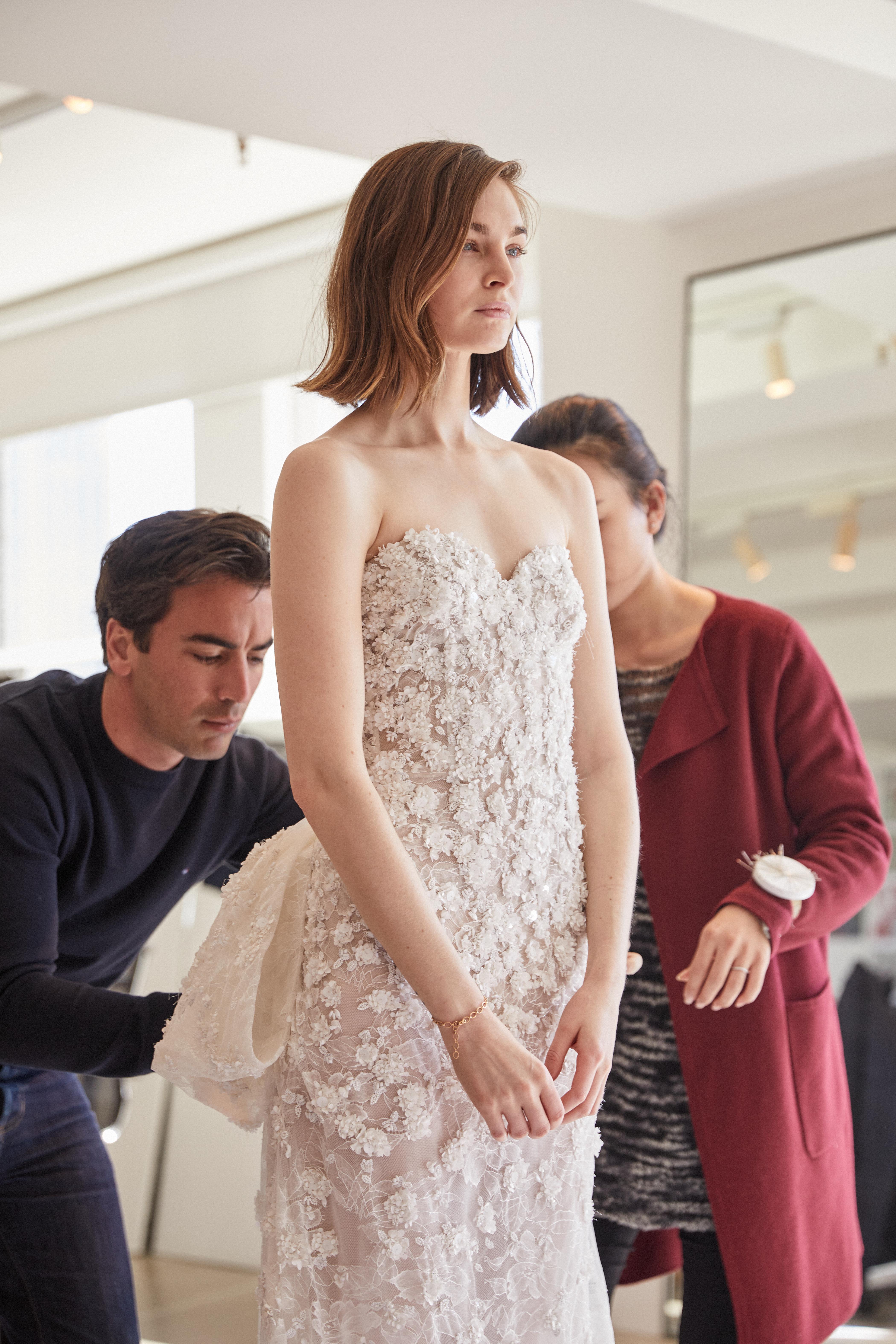 Fernando working on the Oscar De La Renta Bridal Collection