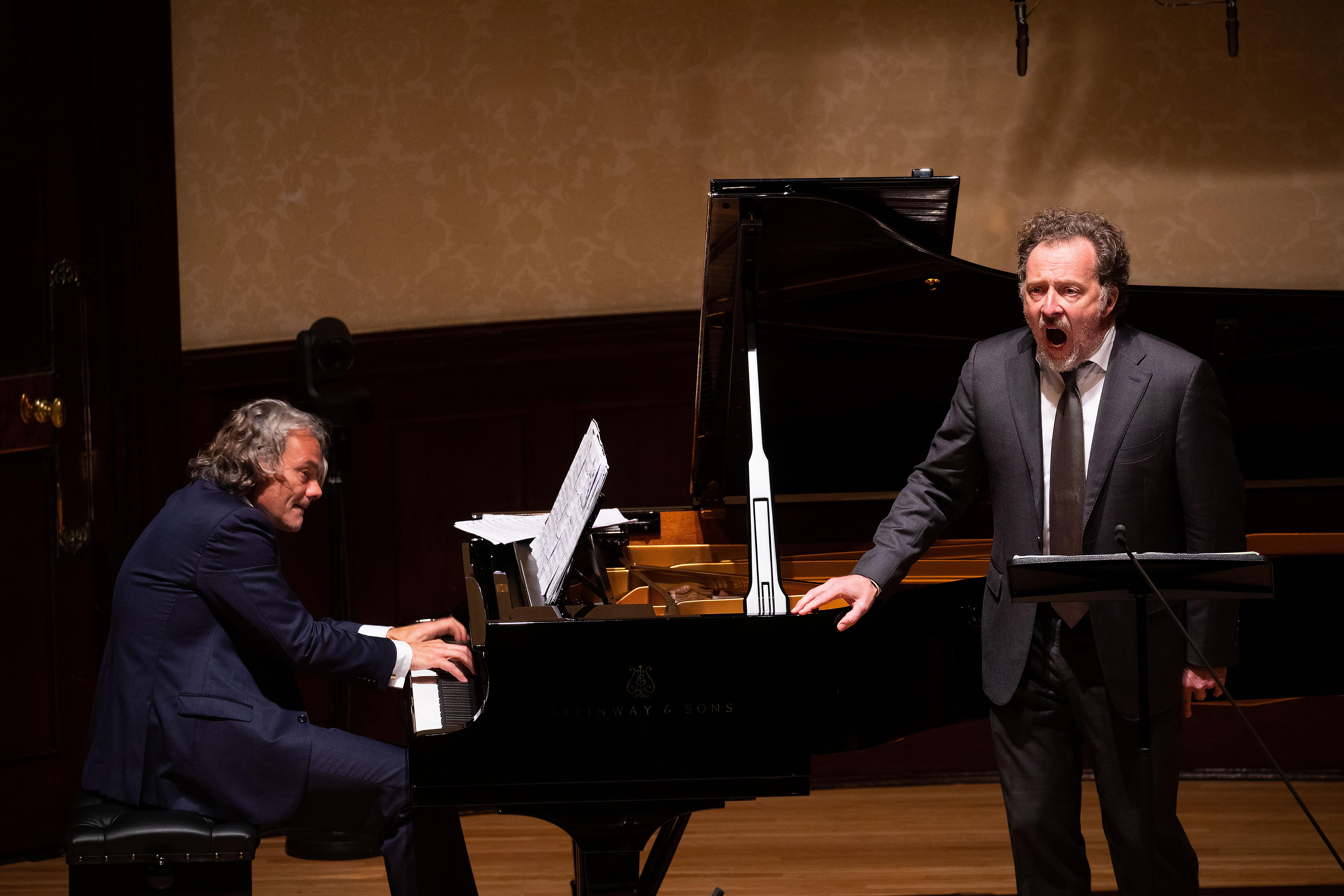 EDITORIAL USE ONLY Baritone Christian Gerhaher and pianist Gerold Huber perform songs by Schubert and Berg at a recital to launch the new season at Wigmore Hall as it becomes the first major UK music venue to welcome back live audiences, London.
