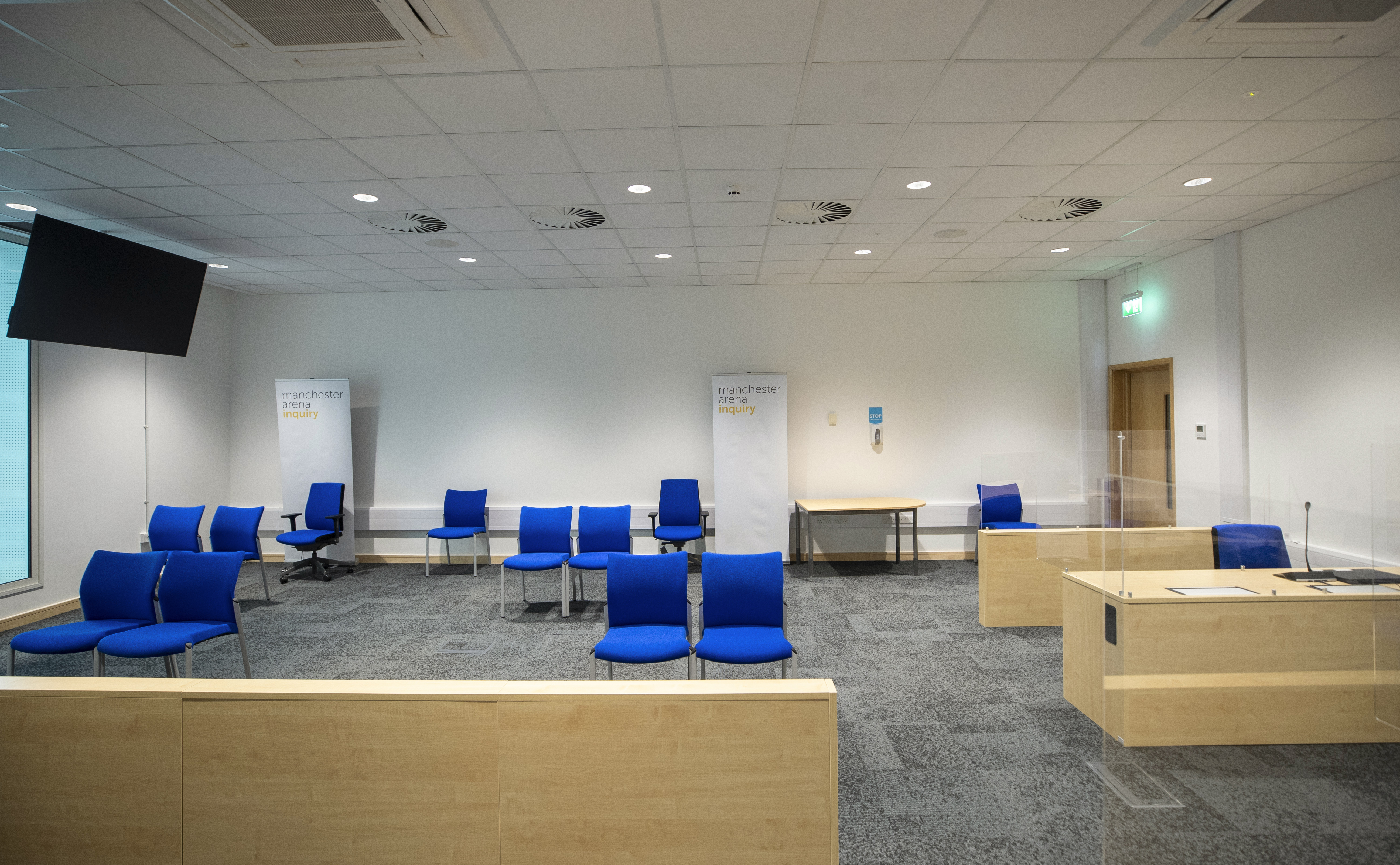 A general view inside the room where the Manchester Arena Inquiry will be held, at Manchester Magistrates Court, Manchester. The inquiry will investigate the circumstances surrounding the deaths of 22 people following the attack on May 22, 2017. (Photo by Peter Byrne/PA Images via Getty Images)