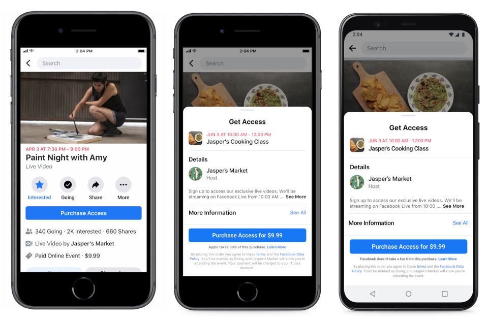 Apple won't collect fees on paid Facebook events until 2021