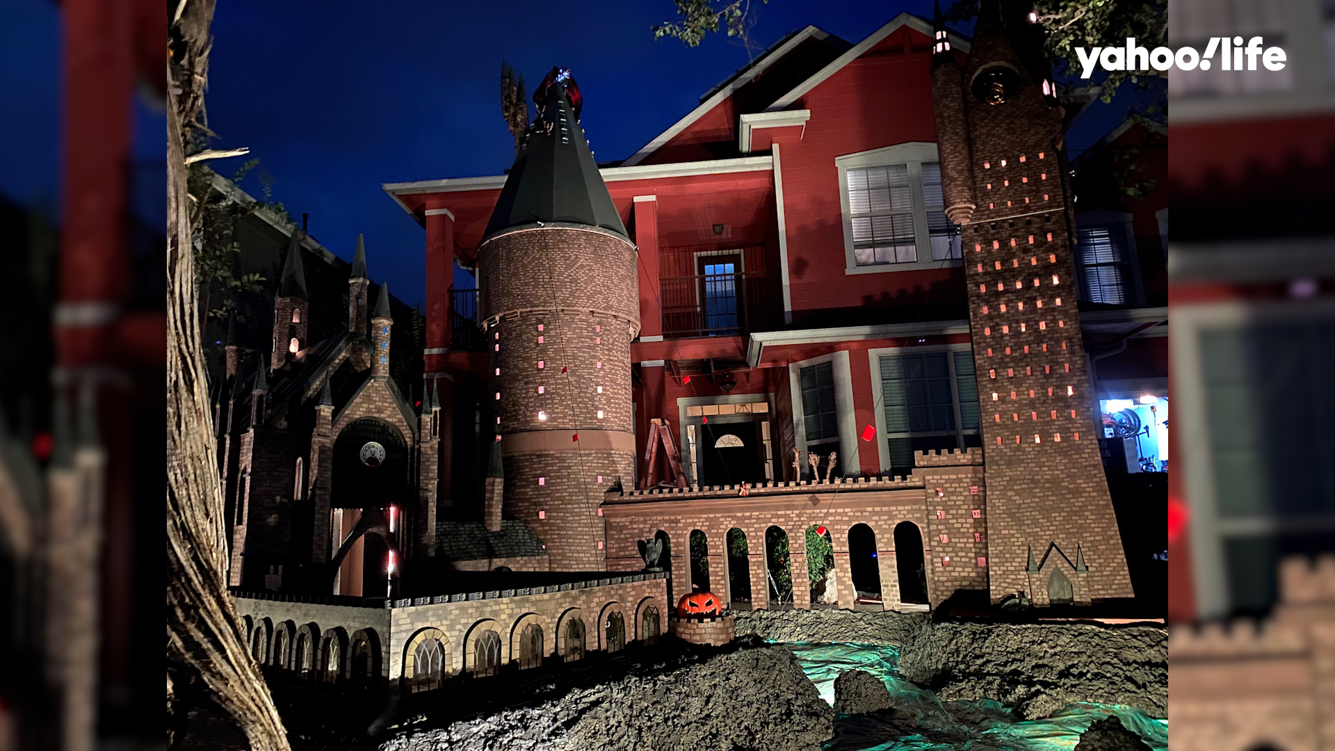 Family builds 'Hogwarts Castle' in front yard to lift neighborhood's spirits during Halloween