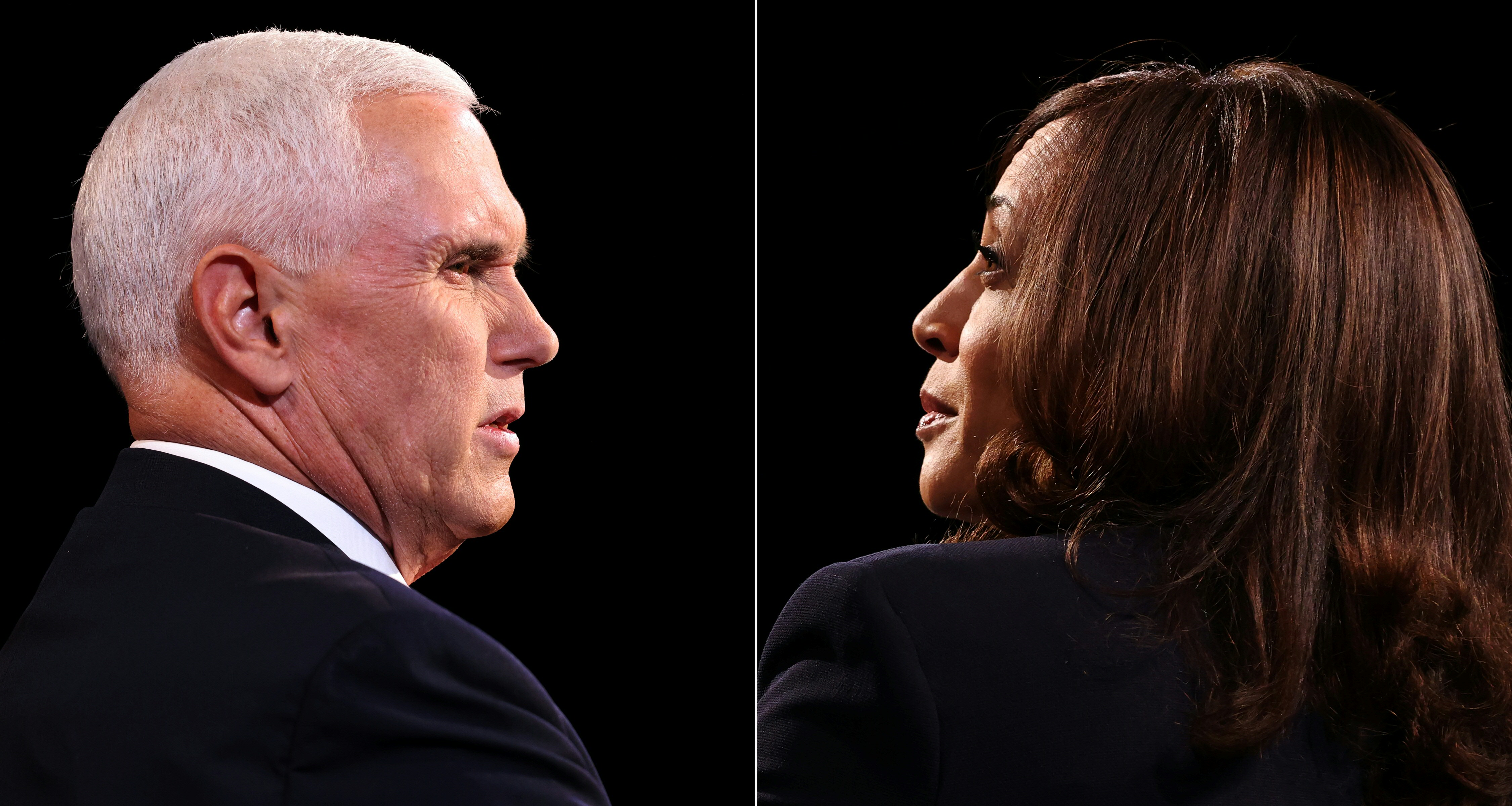 (COMBO) This combination of pictures created on October 07, 2020 shows US Vice President Mike Pence and Democratic vice presidential nominee and Senator from California Kamala Harris  during the vice presidential debate in Kingsbury Hall at the University of Utah on October 7, 2020, in Salt Lake City, Utah. (Photos by Justin Sullivan / POOL / AFP) (Photo by JUSTIN SULLIVAN/POOL/AFP via Getty Images)