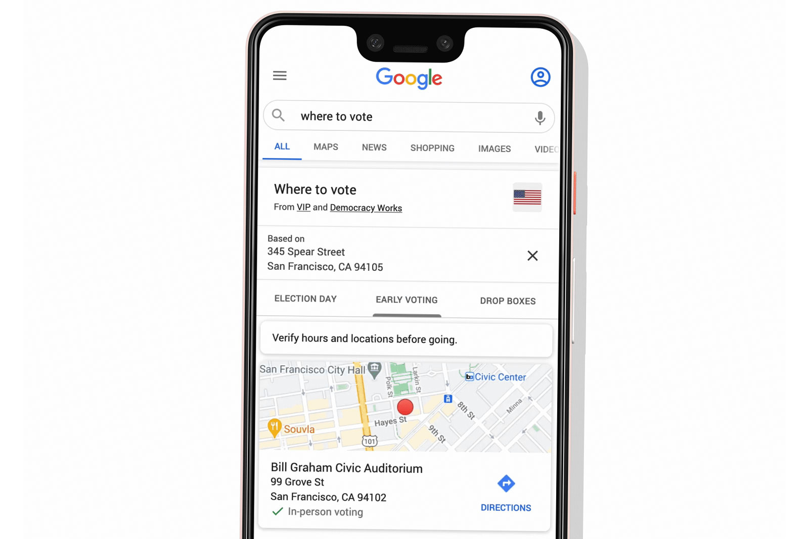 Google search now shows you where to vote or drop off your ballot