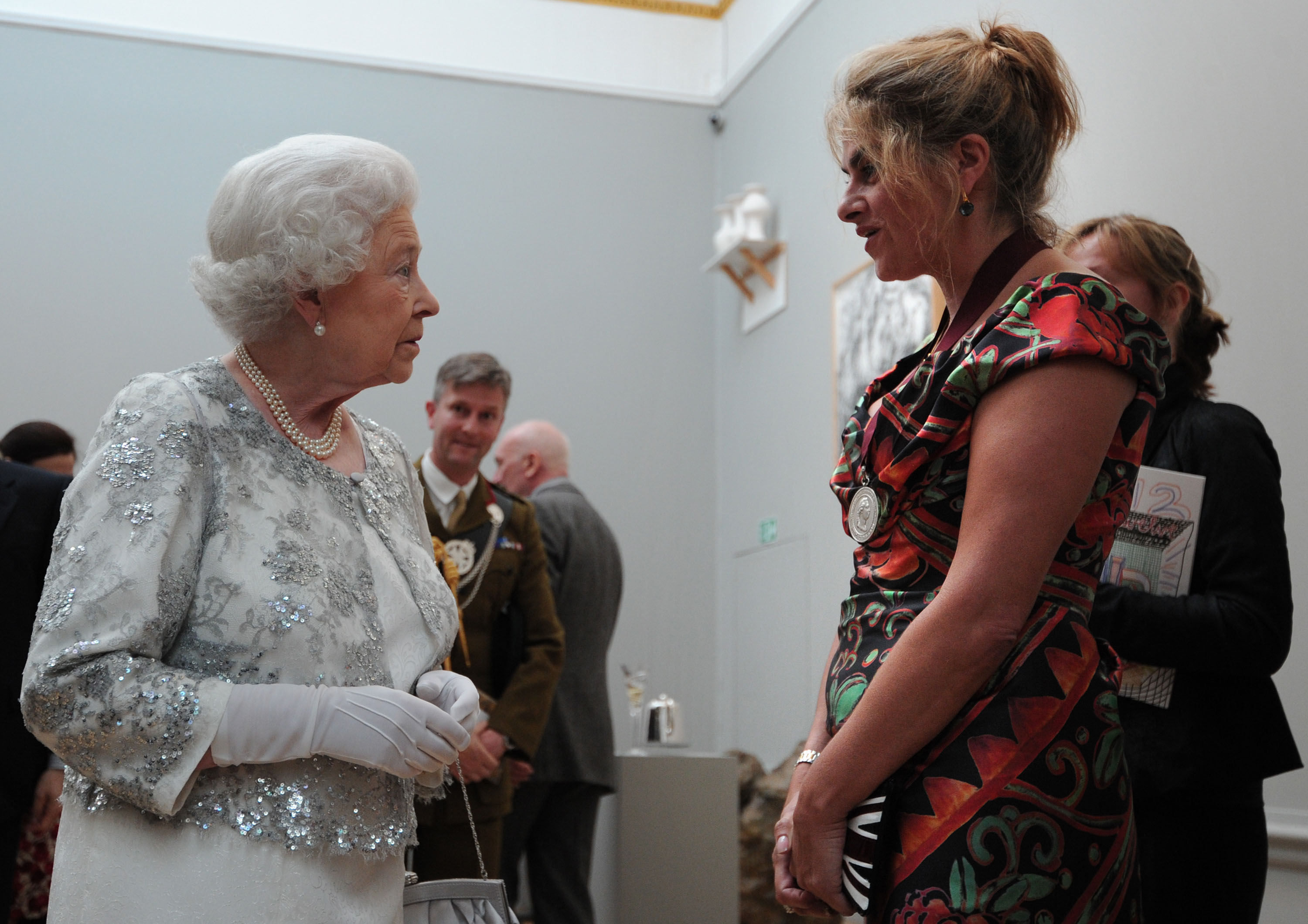 LONDON, ENGLAND - MAY 23:  HRH Queen Elizabeth II meets artist Tracey Emin  at a special 'Celebration of the Arts' event at the Royal Academy of Arts on May 23, 2012 in London, England.  (Photo by Carl Court - WPA Pool/Getty Images)