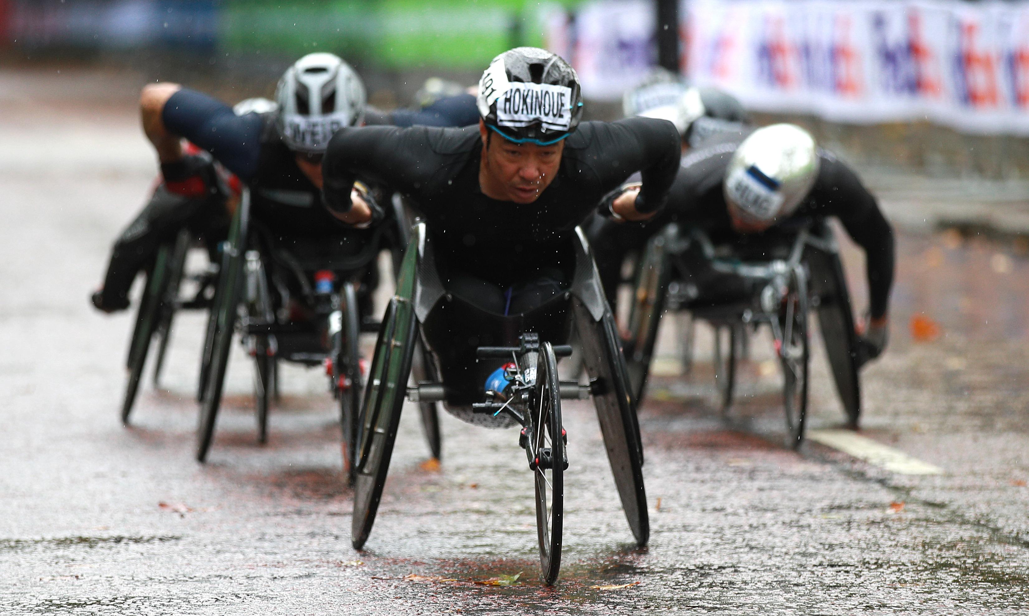Japan's Hiroki Nishida in action during the Elite Wheelchair Race during the Virgin Money London Marathon around St James' Park. (Photo by Ian Walton/PA Images via Getty Images)