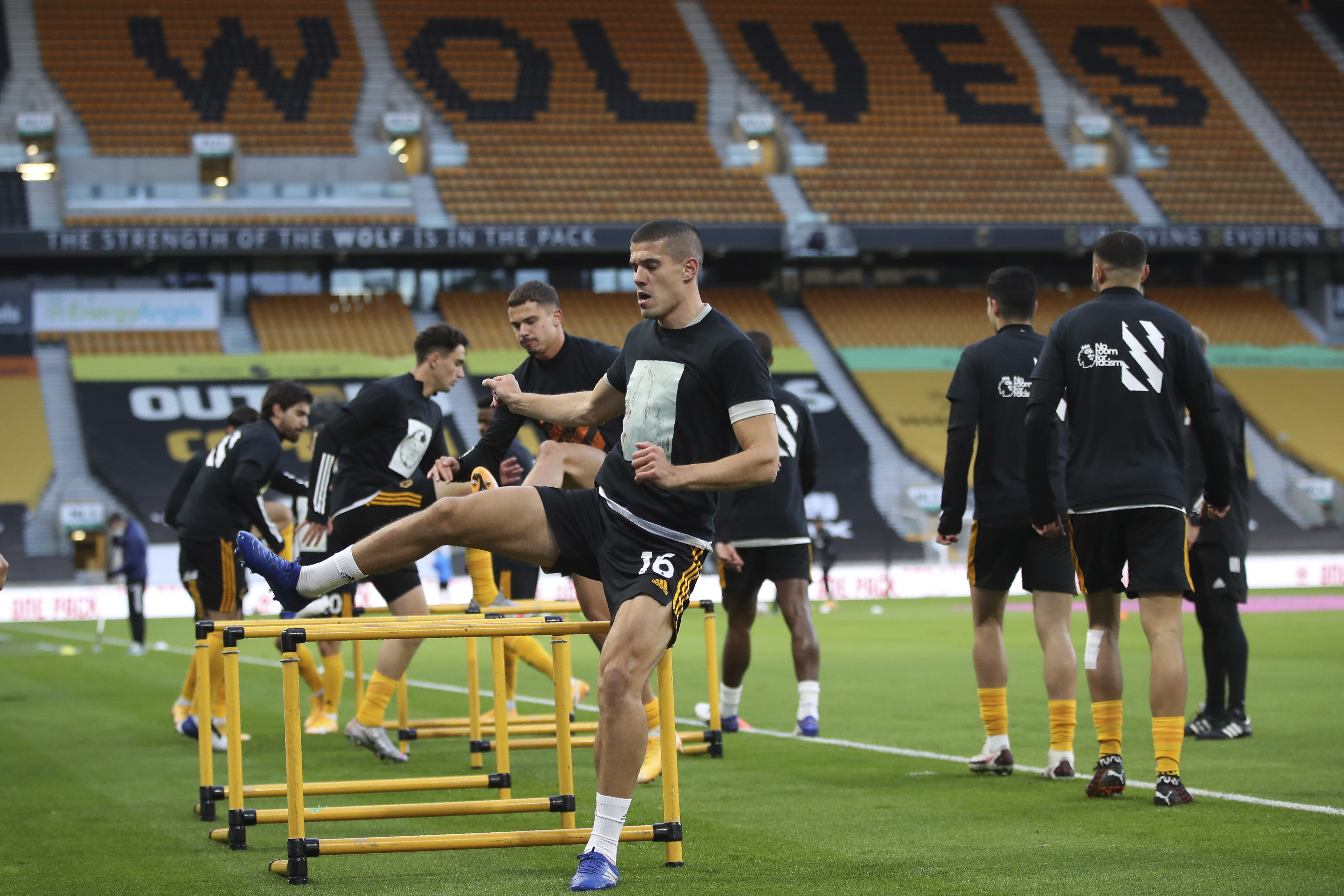 Wolverhampton Wanderers' Conor Coady during the English Premier League soccer match between Wolves and Newcastle United at Molineux Stadium in Wolverhampton, England, Sunday, Oct. 25, 2020. (Nick Potts/Pool Photo via AP)