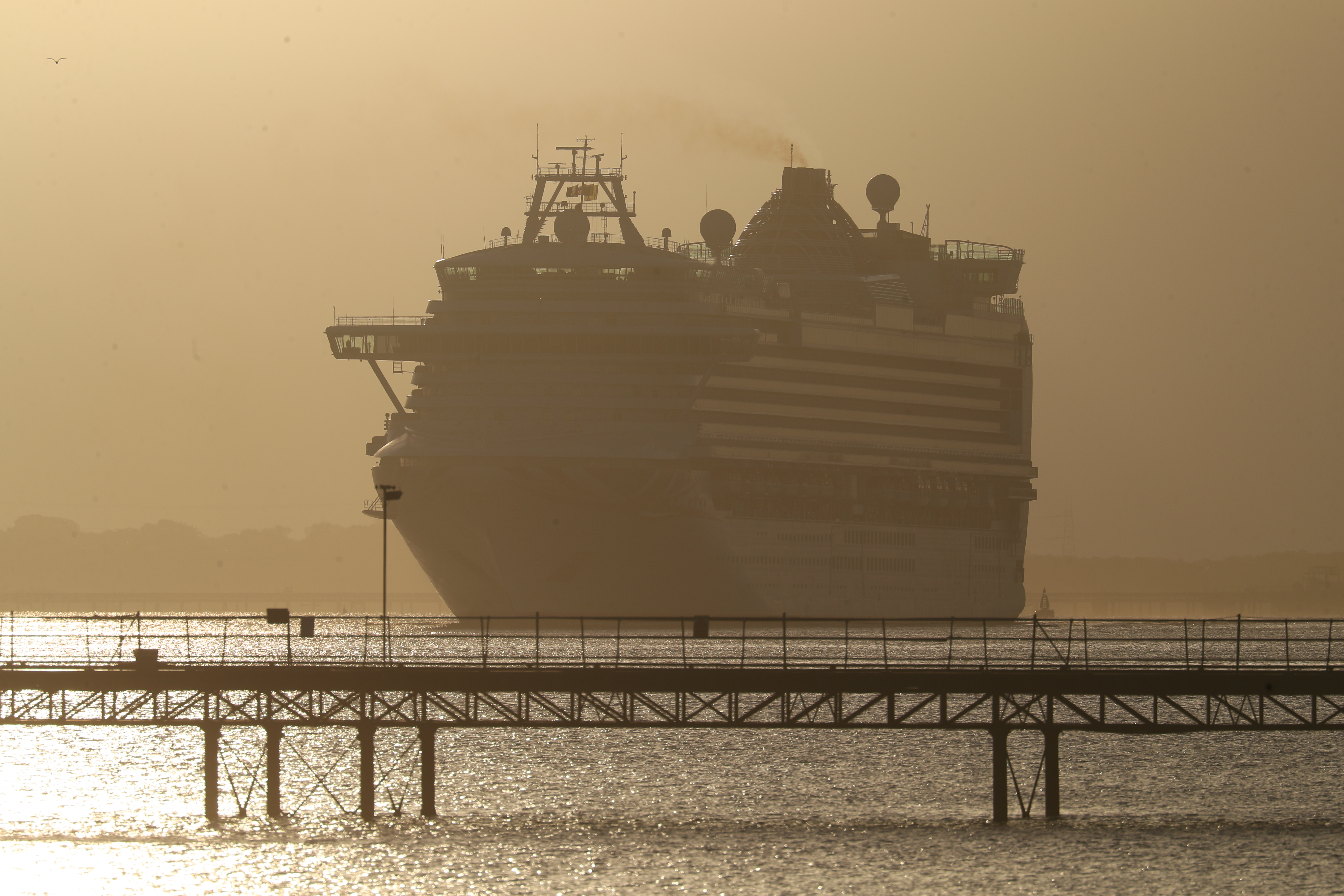 The P and O cruise ship Azura travels up Southampton Water into the port at Southampton, Hampshire. (Photo by Andrew Matthews/PA Images via Getty Images)