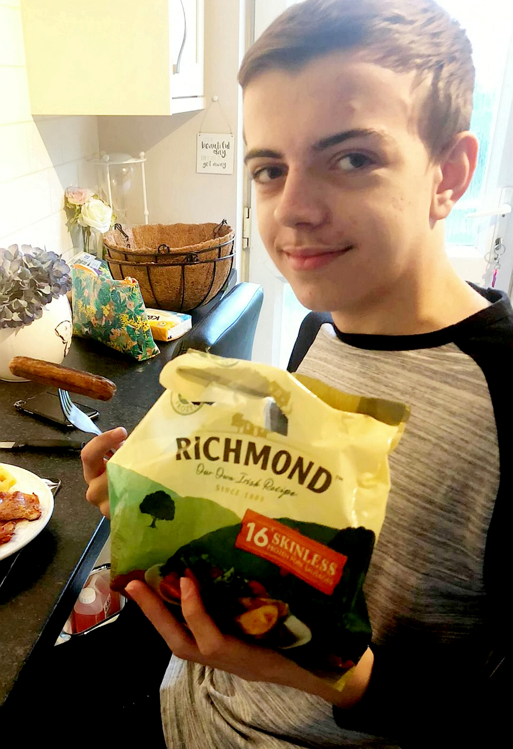 A teenage boy who has eaten nothing but SAUSAGES every mealtime for his entire life has been cured of his bizarre food phobia after being hypnotised over Facetime. Ben Simpson, 15, would refuse to try anything other than a bland diet of plain Richmonds bangers washed down with glasses of water. He developed his fear of food, known as ARFID, when mum Wendy Hughes, 55, tried to move him onto solid foods as a baby. She has since forked out £60 a month on Richmonds skinless sausages - with Ben getting through four every meal and several packs of 16 each week. Frustrated Wendy became so concerned about her son's health she turned to Cognitive Behavioural Hypnotherapist David Kilmurry for help. And she was left amazed after Ben began trying new foods for the first rime following just one hypnotherapy session on a Facetime phone call.