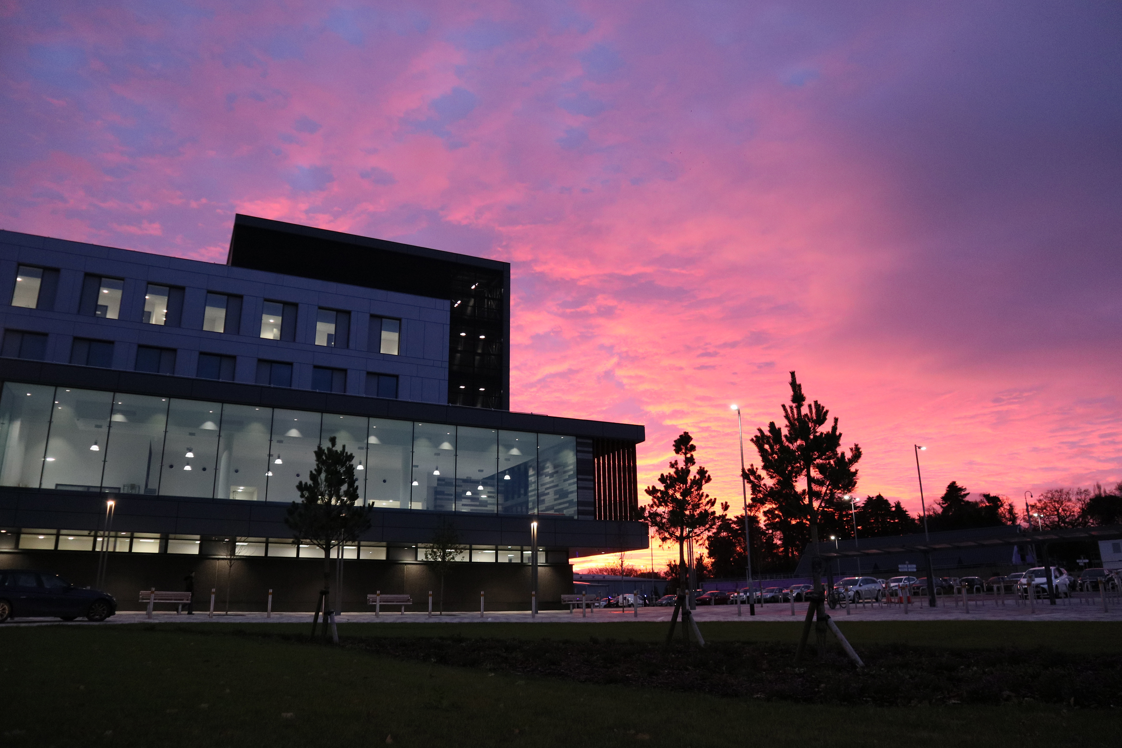 CWMBRAN, WALES - NOVEMBER 16: A general view of the early morning start at the Grange University Hospital, where the photographer works transporting non-emergency patients, on November 13, 2020 in Cwmbran, Wales. The £350m hospital will provide services including accident and emergency, intensive care and major surgery to patients living across Gwent and south Powys in South Wales. It has opened 4 months ahead of schedule, as the NHS faces a second wave of coronavirus cases. (Photo by Huw Fairclough/Getty Images)