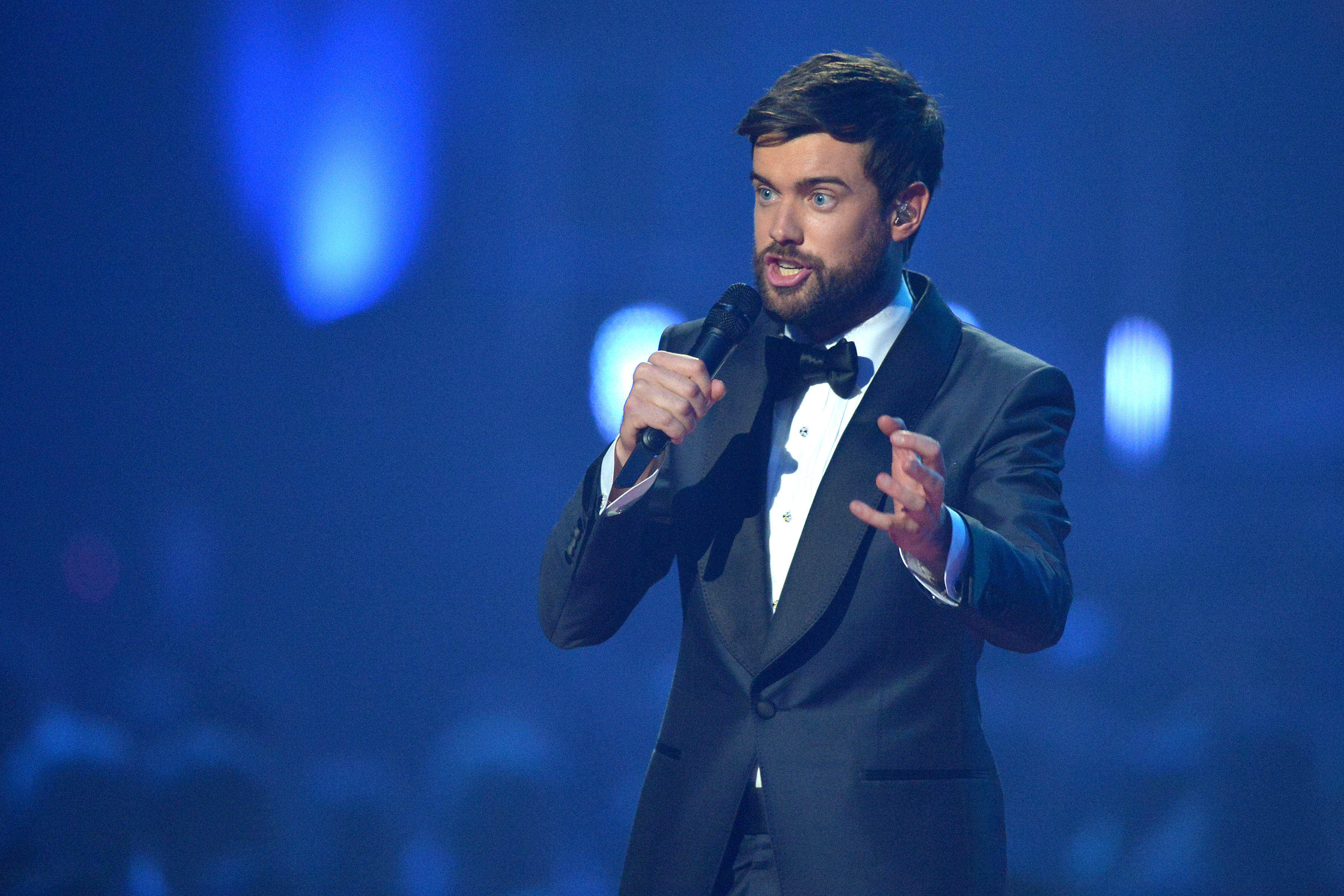 LONDON, ENGLAND - FEBRUARY 18: (EDITORIAL USE ONLY) Comedian Jack Whitehall presents on stage during The BRIT Awards 2020 at The O2 Arena on February 18, 2020 in London, England. (Photo by Jim Dyson/Redferns)